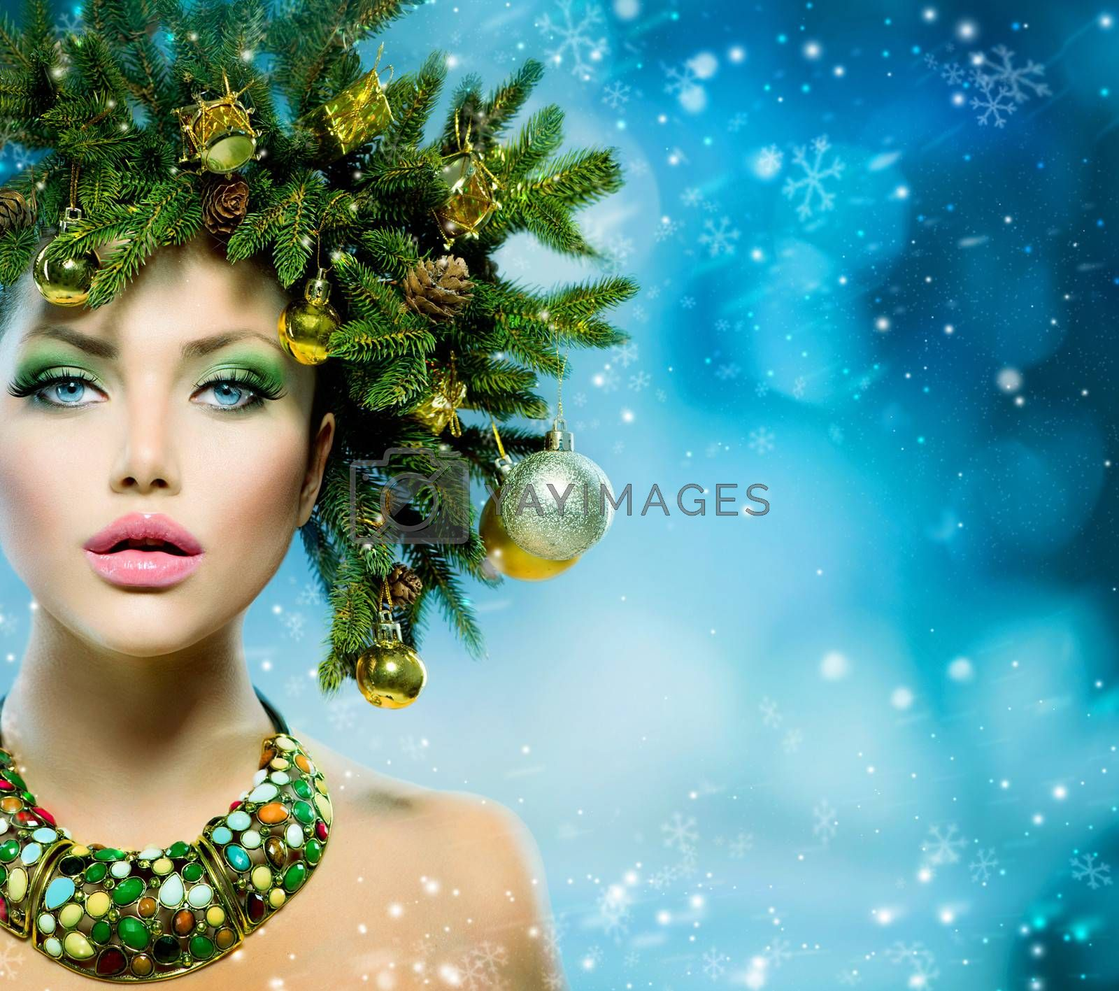 Christmas Woman. Christmas Tree Holiday Hairstyle and Makeup by Subbotina Anna