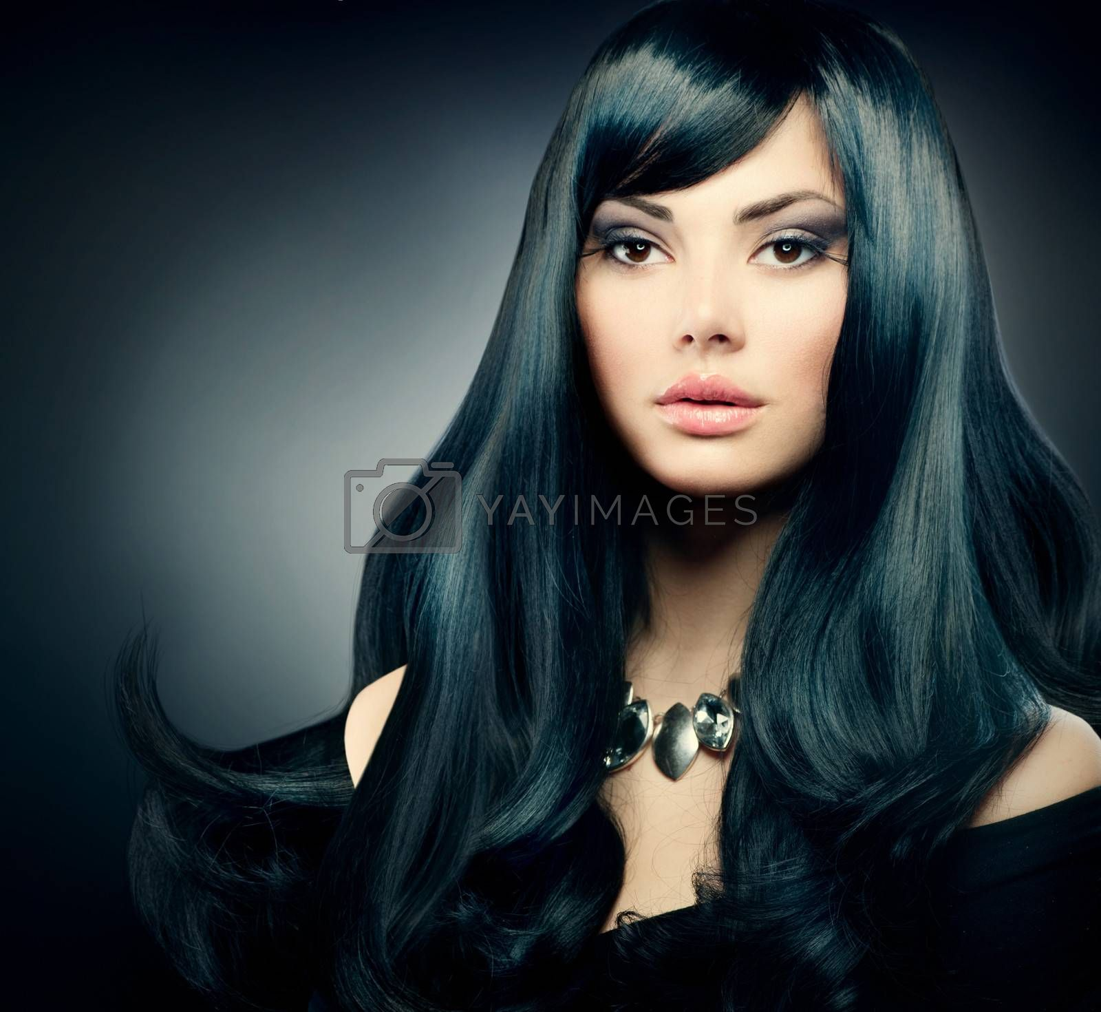 Brunette Luxury Girl. Healthy Long Black Hair and Holiday Makeup by Subbotina Anna