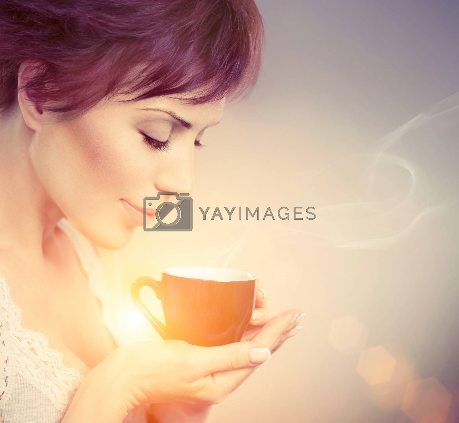 Beautiful Girl Enjoying Coffee. Woman with Cup of Hot Beverage by Subbotina Anna