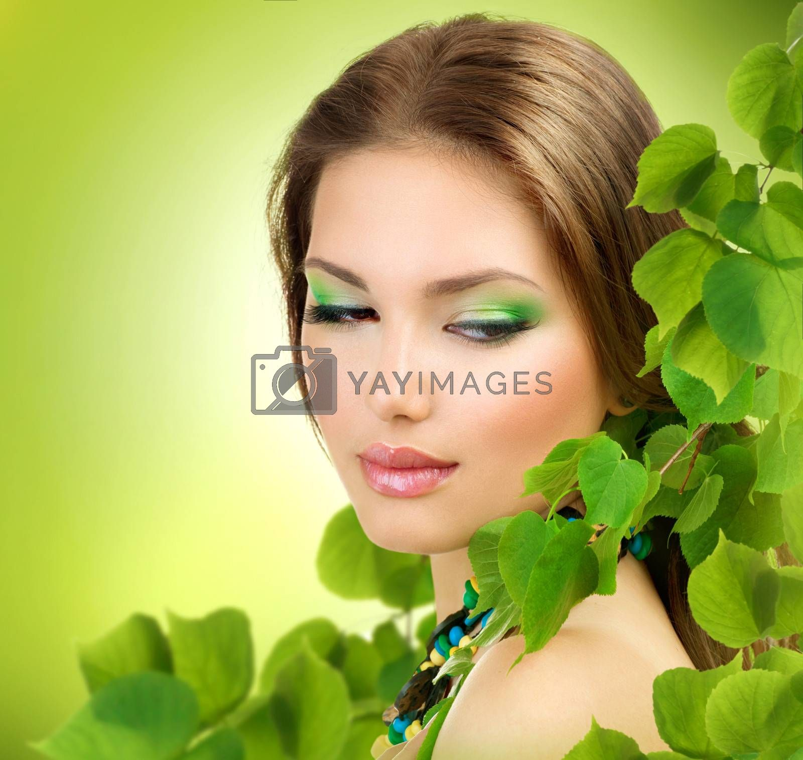 Beautiful Girl with Green Leaves. Spring Beauty outdoor  by Subbotina Anna