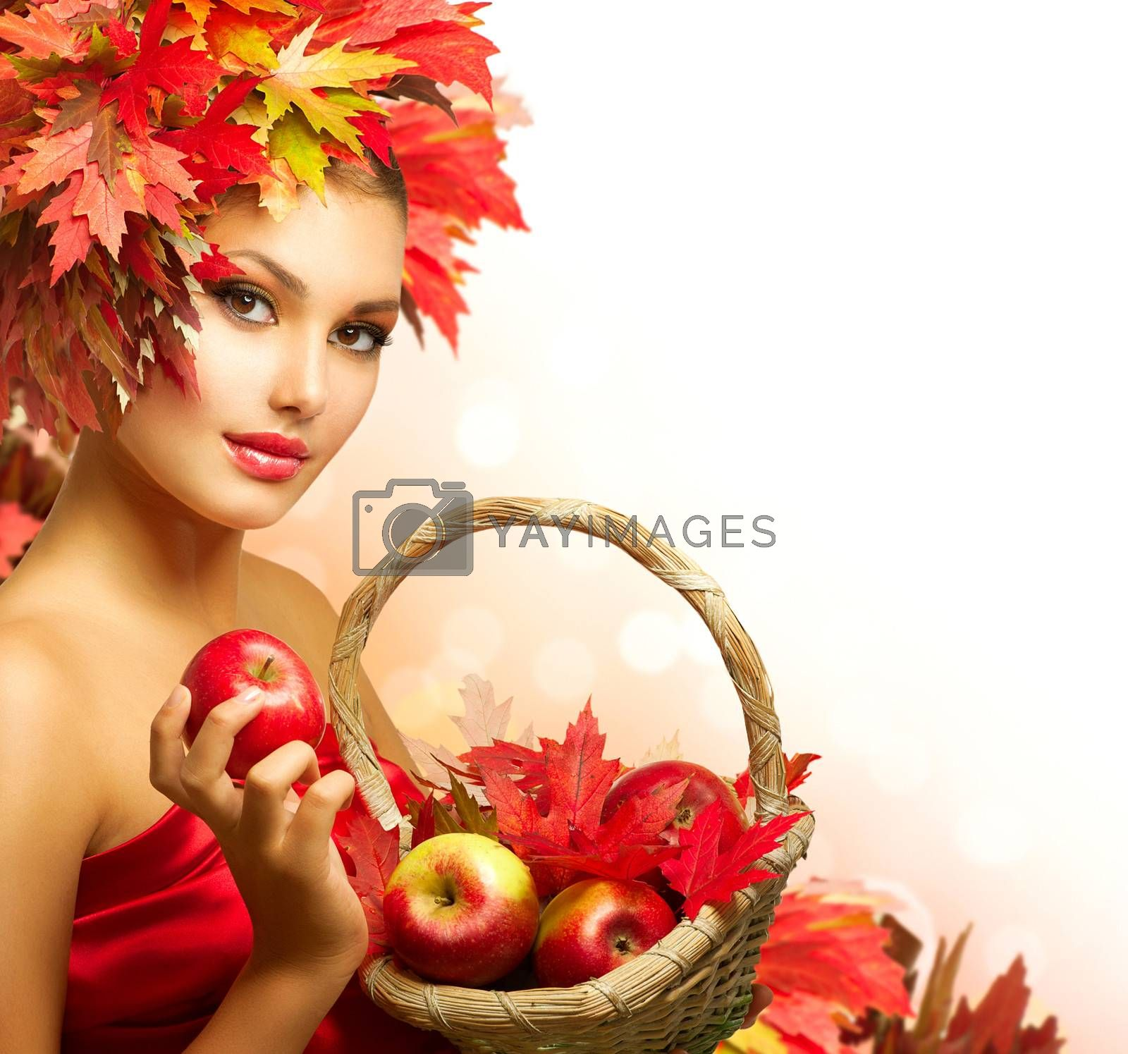 Beauty Autumn Woman with Ripe Red Organic Apples by SubbotinaA
