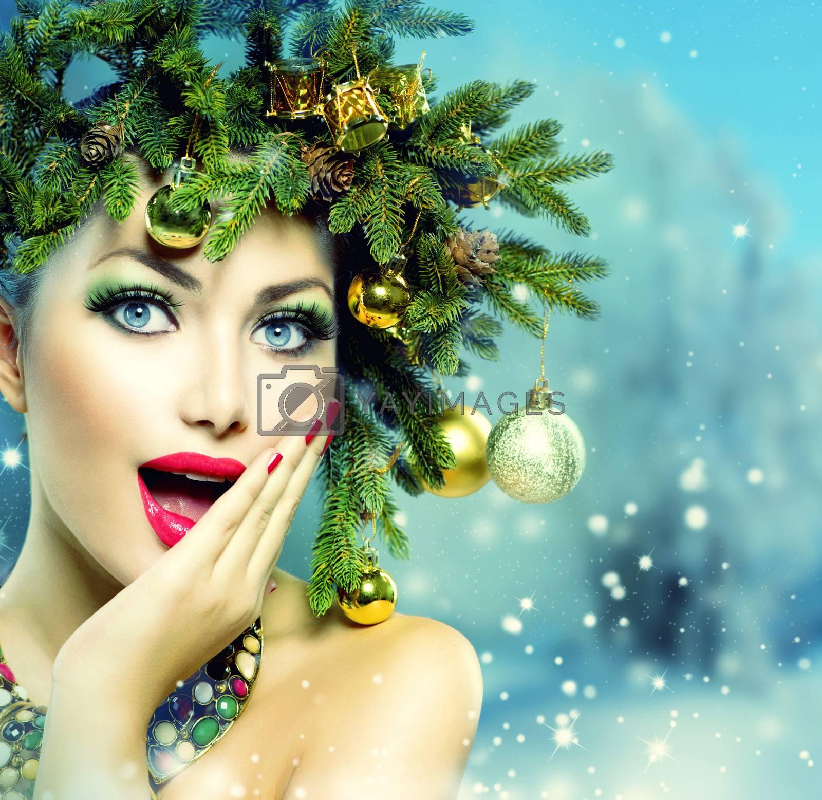 Christmas Woman. Christmas Holiday Hairstyle and Makeup by Subbotina Anna