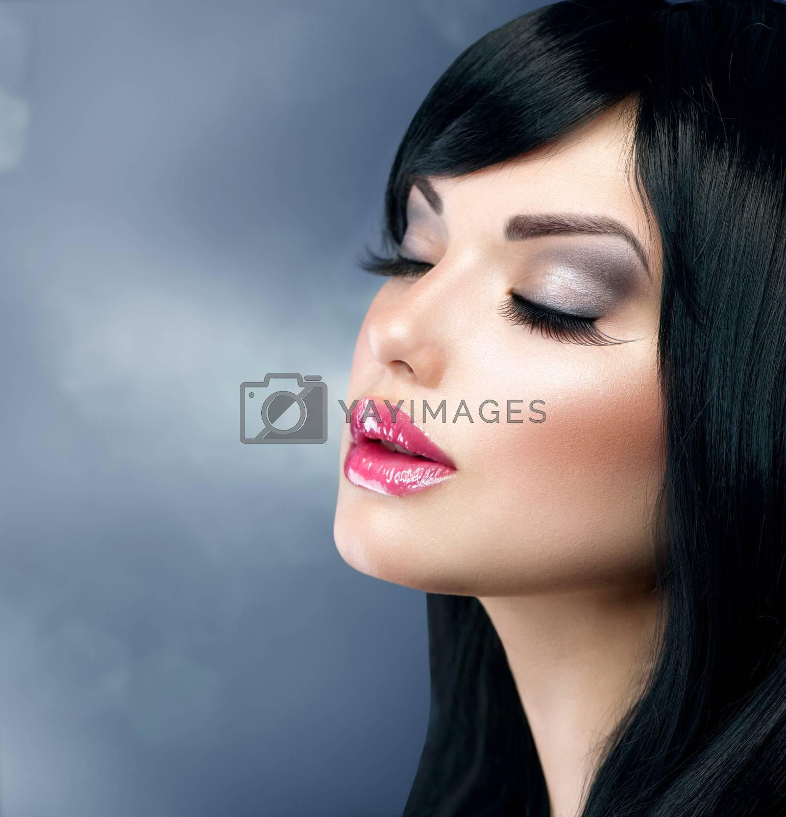 Beautiful Brunette Girl. Healthy Long Black Hair by SubbotinaA