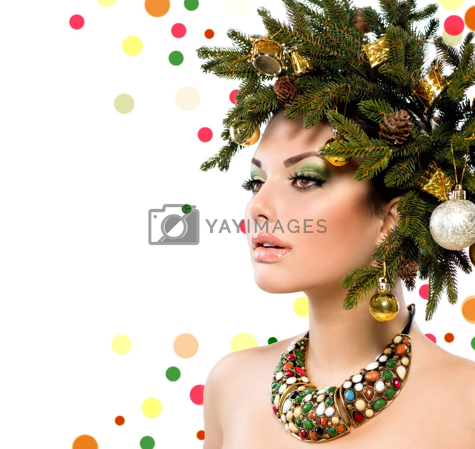 Christmas Woman. Winter Woman with Christmas Hairstyle