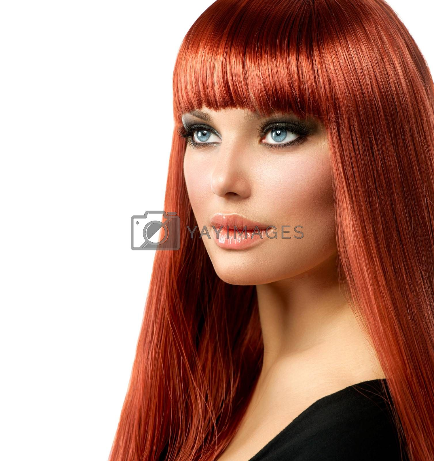 Sexy Woman with Long Shiny Straight Red Hair Isolated on White