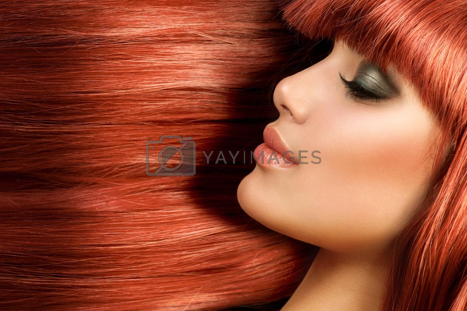 Healthy Long Straight Hair. Red Hair Model Girl Portrait