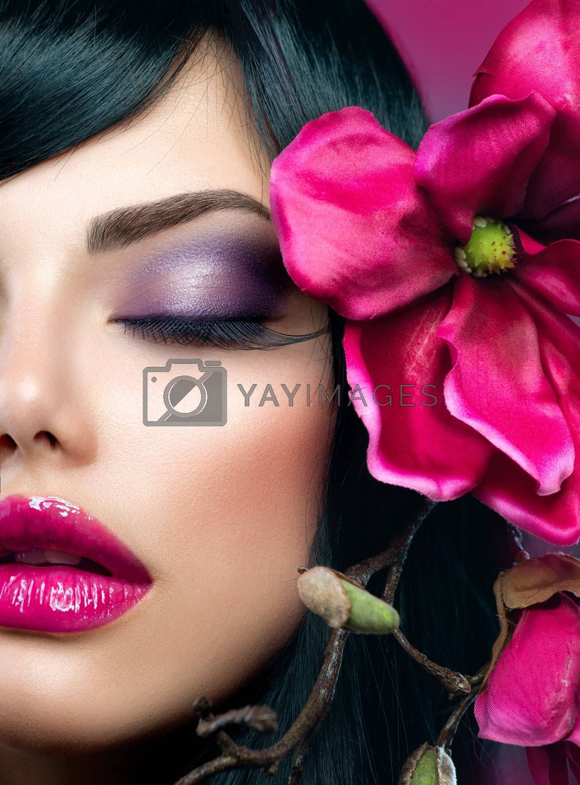 Perfect Holiday Makeup. Beauty Brunette Model Girl