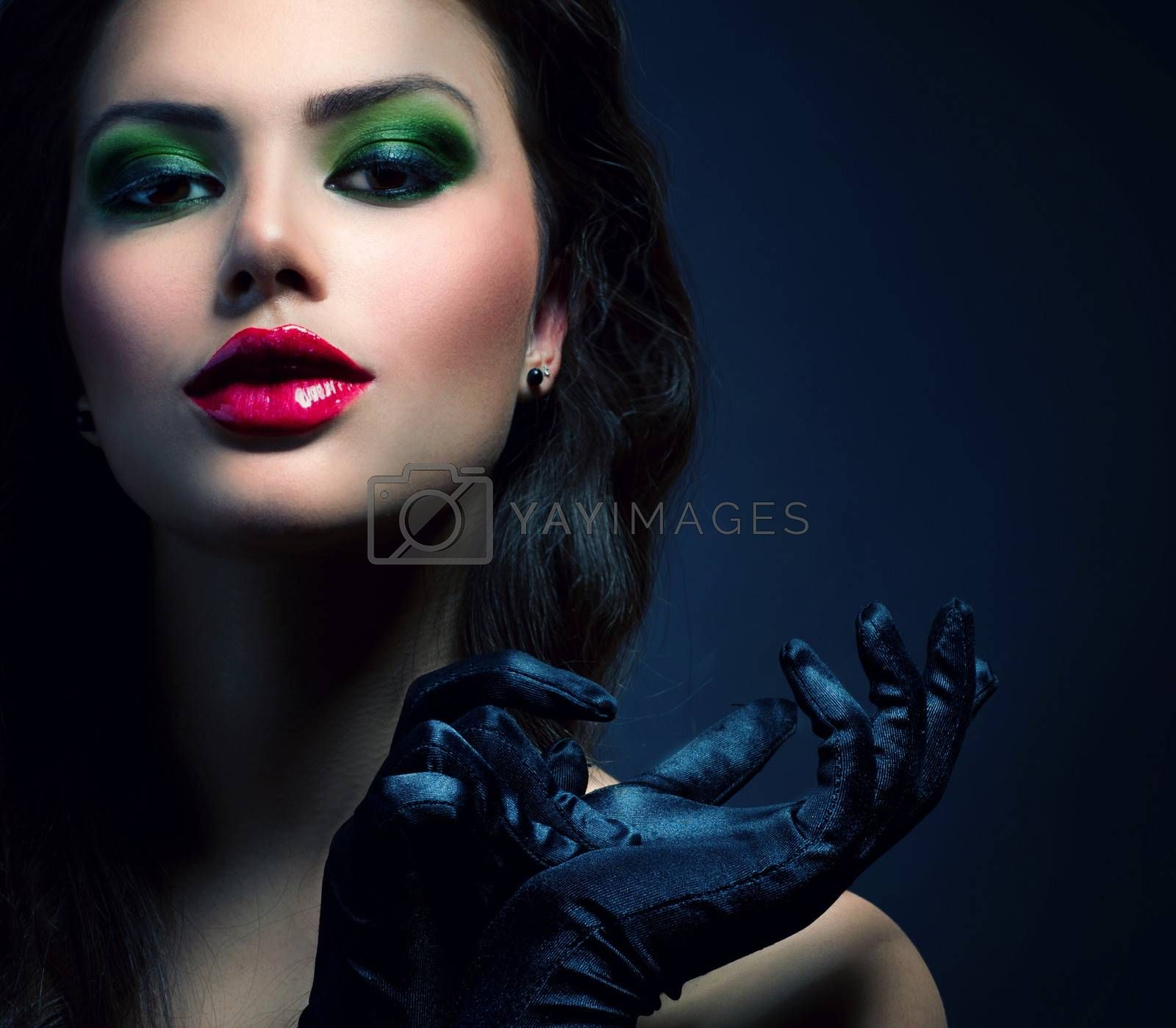 Beauty Fashion Glamour Girl. Vintage Style Model Wearing Gloves by Subbotina Anna