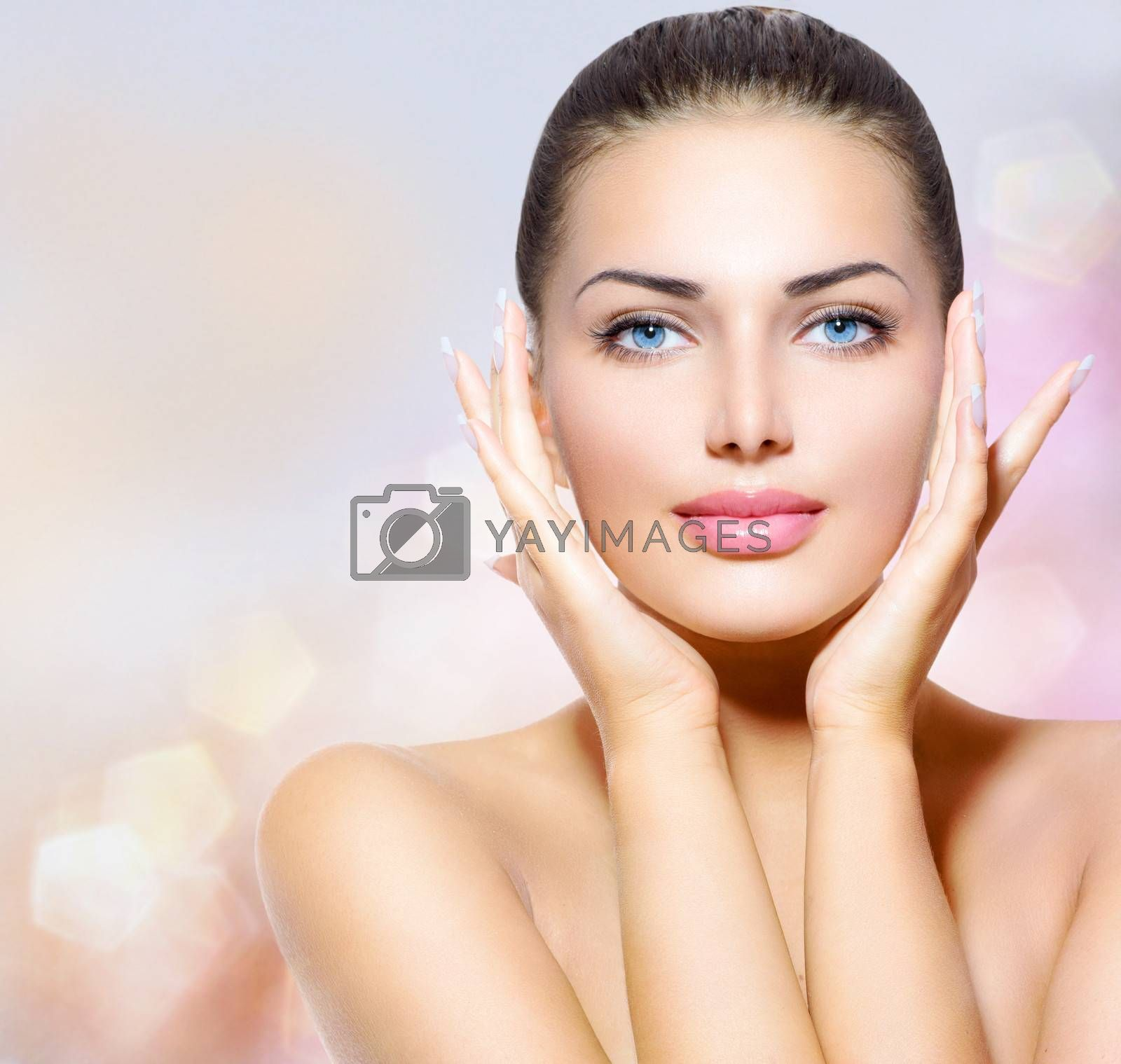 Beauty Portrait. Beautiful Spa Woman Touching her Face by Subbotina Anna