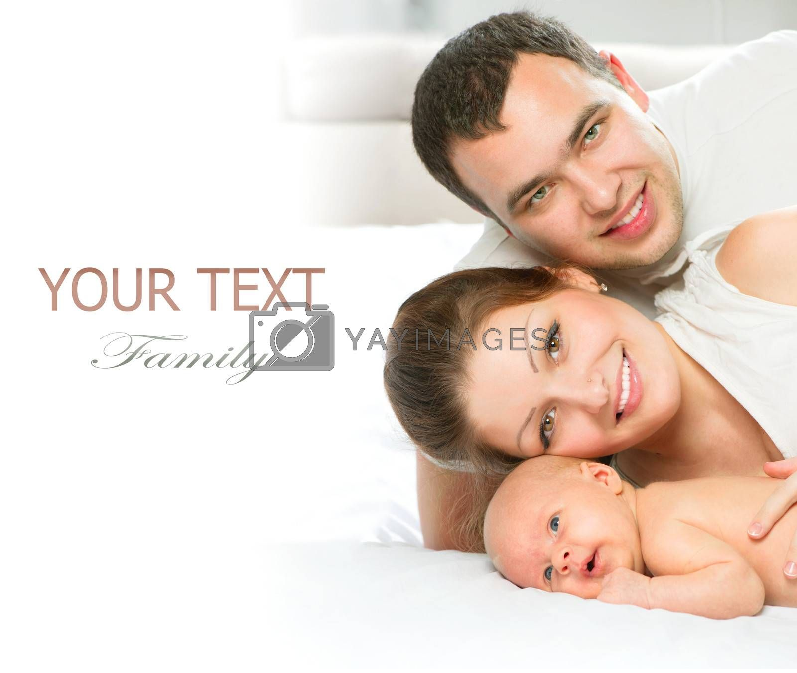 Happy Family. Father, Mother and their newborn Baby