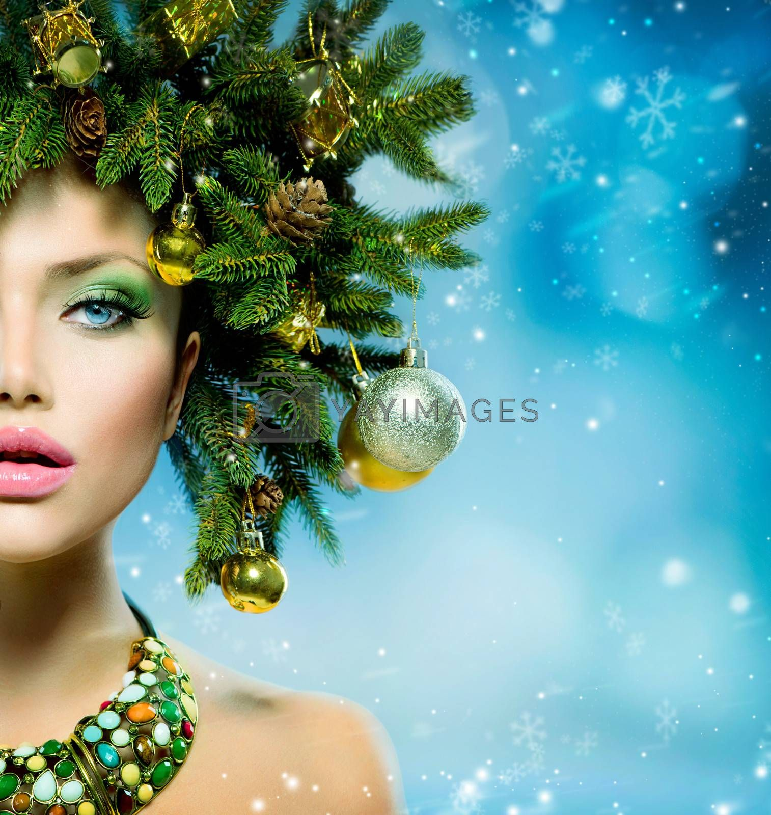 Christmas Woman. Christmas Tree Holiday Hairstyle and Make up by Subbotina Anna