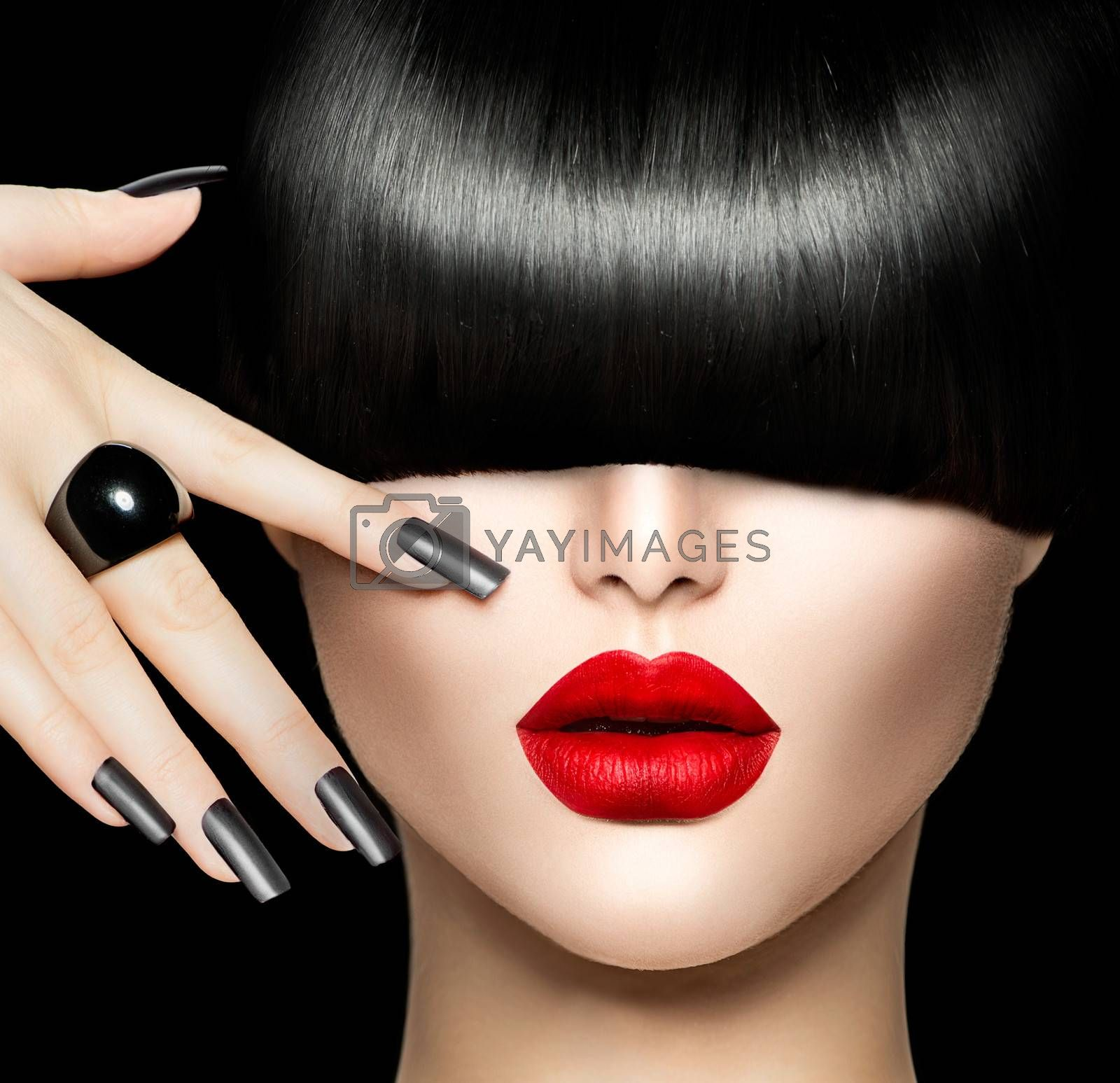 Beauty Girl Portrait with Trendy Hair style, Makeup and Manicure