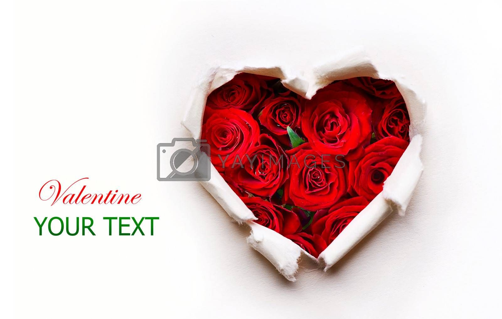 Paper Valentines Heart with Red Rose Flowers Bouquet