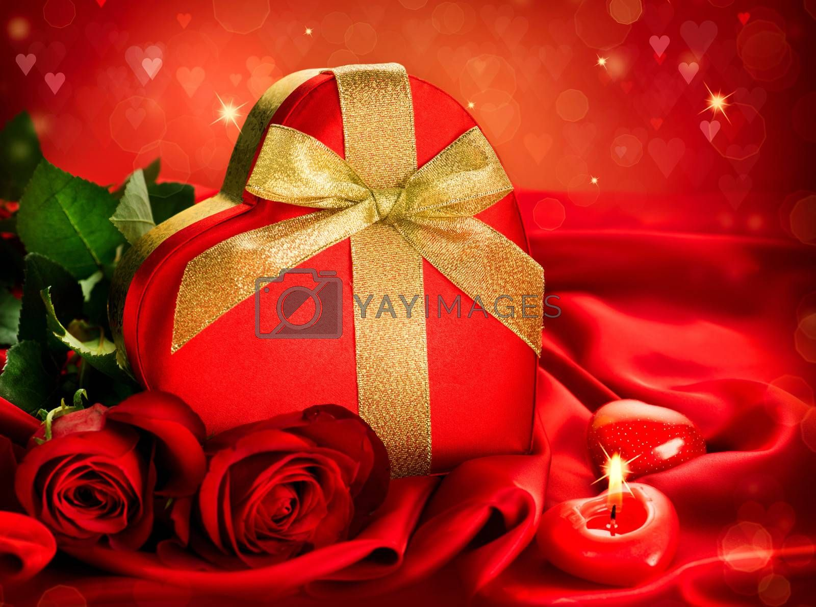 Valentine Red Hear Gift and Red Rose Flower over Red Silk