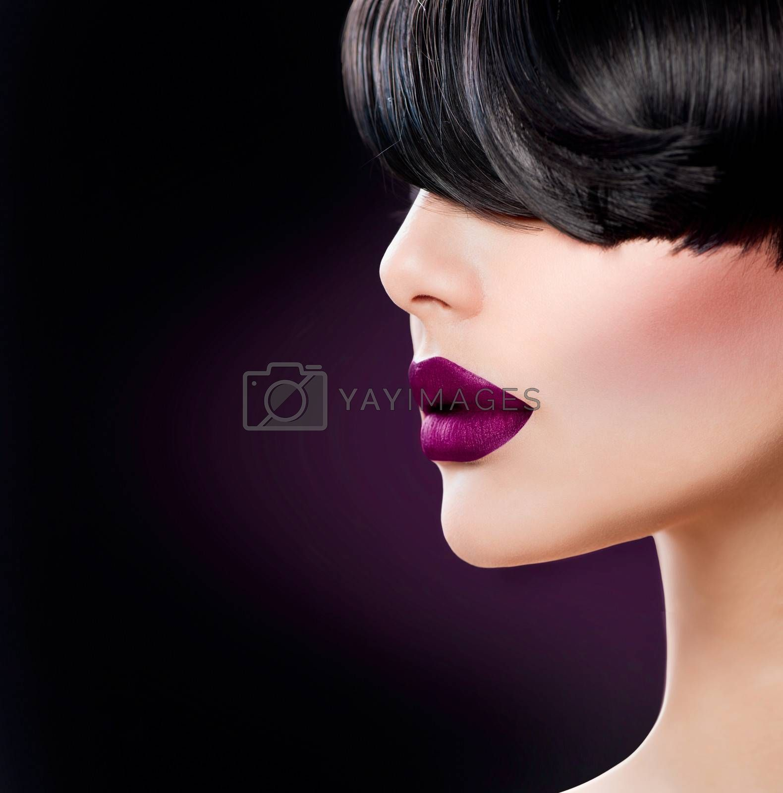 Beauty Woman Face close up with Beautiful Dark Violet Lips