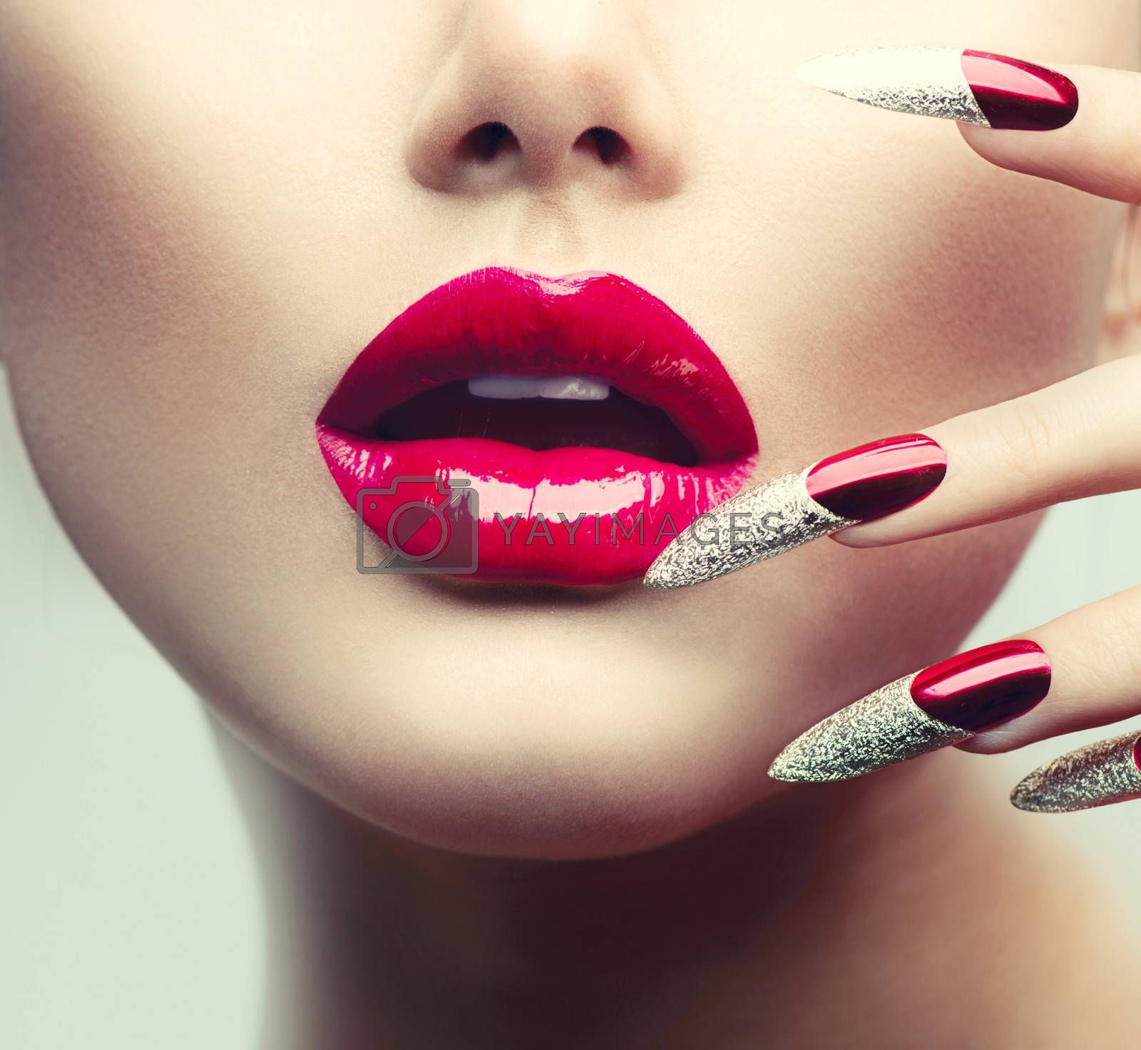 Makeup and Manicure. Red Long Nails and Red Glossy Lips