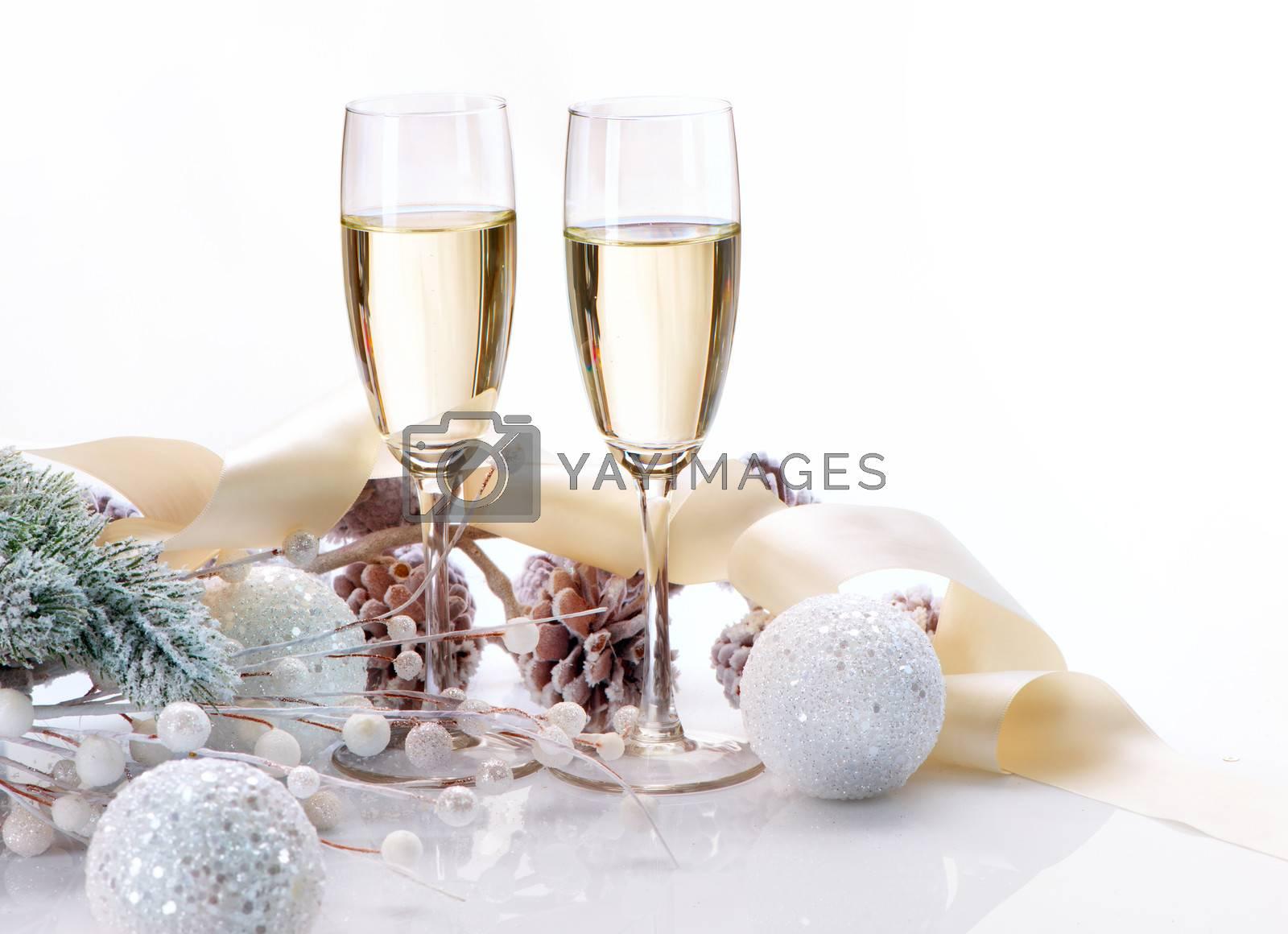 Two Champagne Glasses. Christmas Celebration