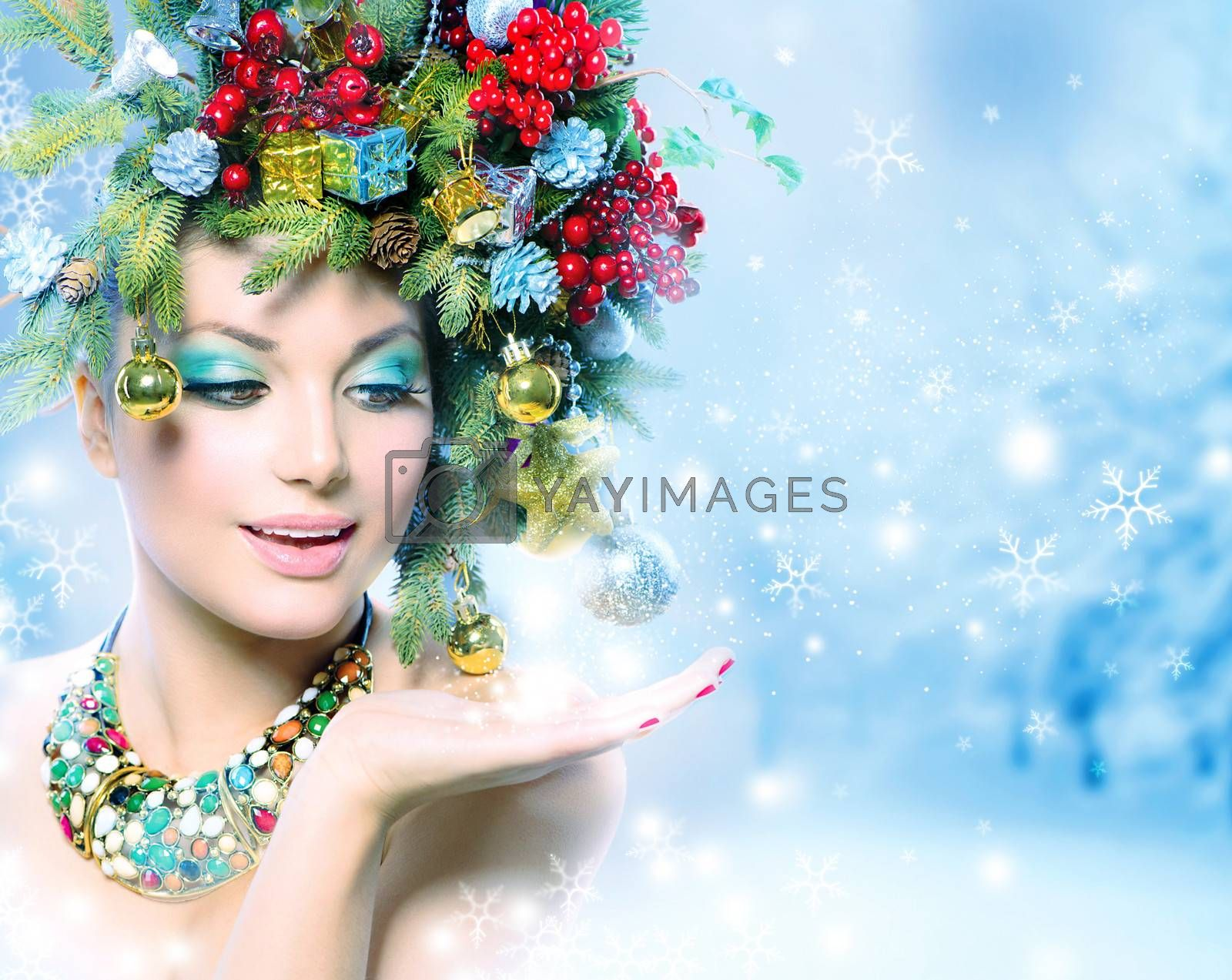 Christmas Winter Woman with Miracle in Her Hand