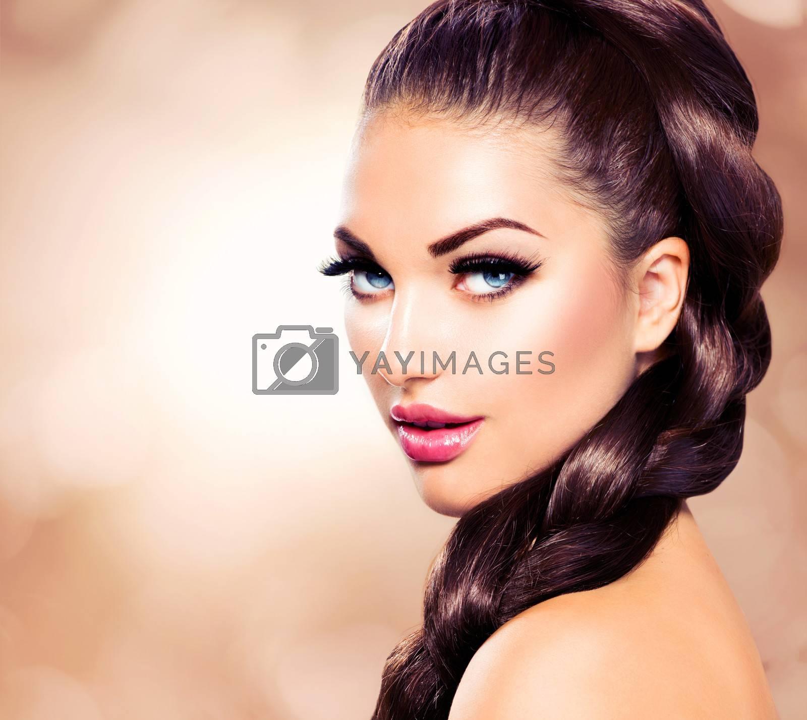 Hair Braid. Beautiful Woman with Healthy Long Brown Hair