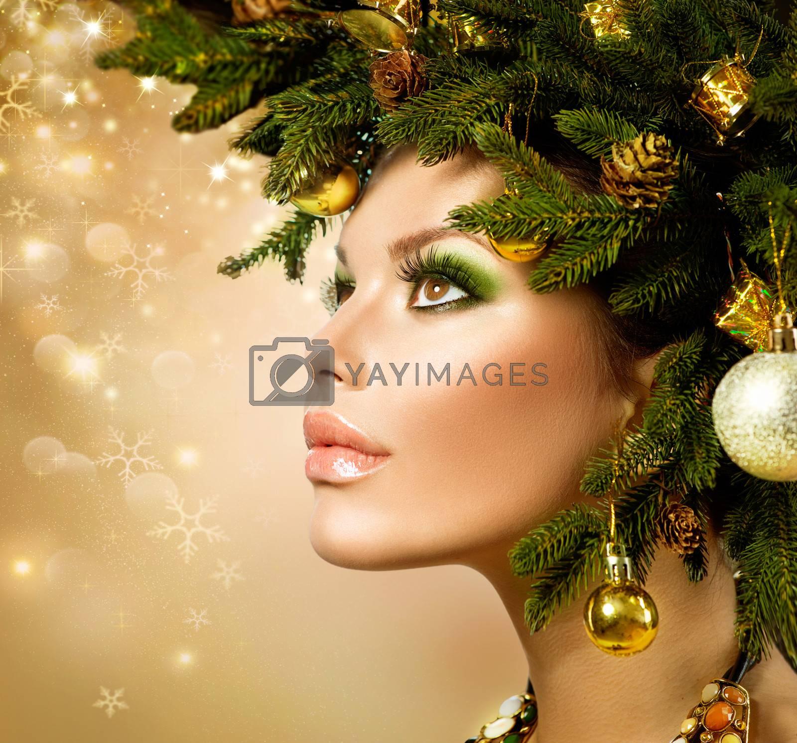 Christmas Woman. Christmas Tree Holiday Hairstyle and Makeup by SubbotinaA