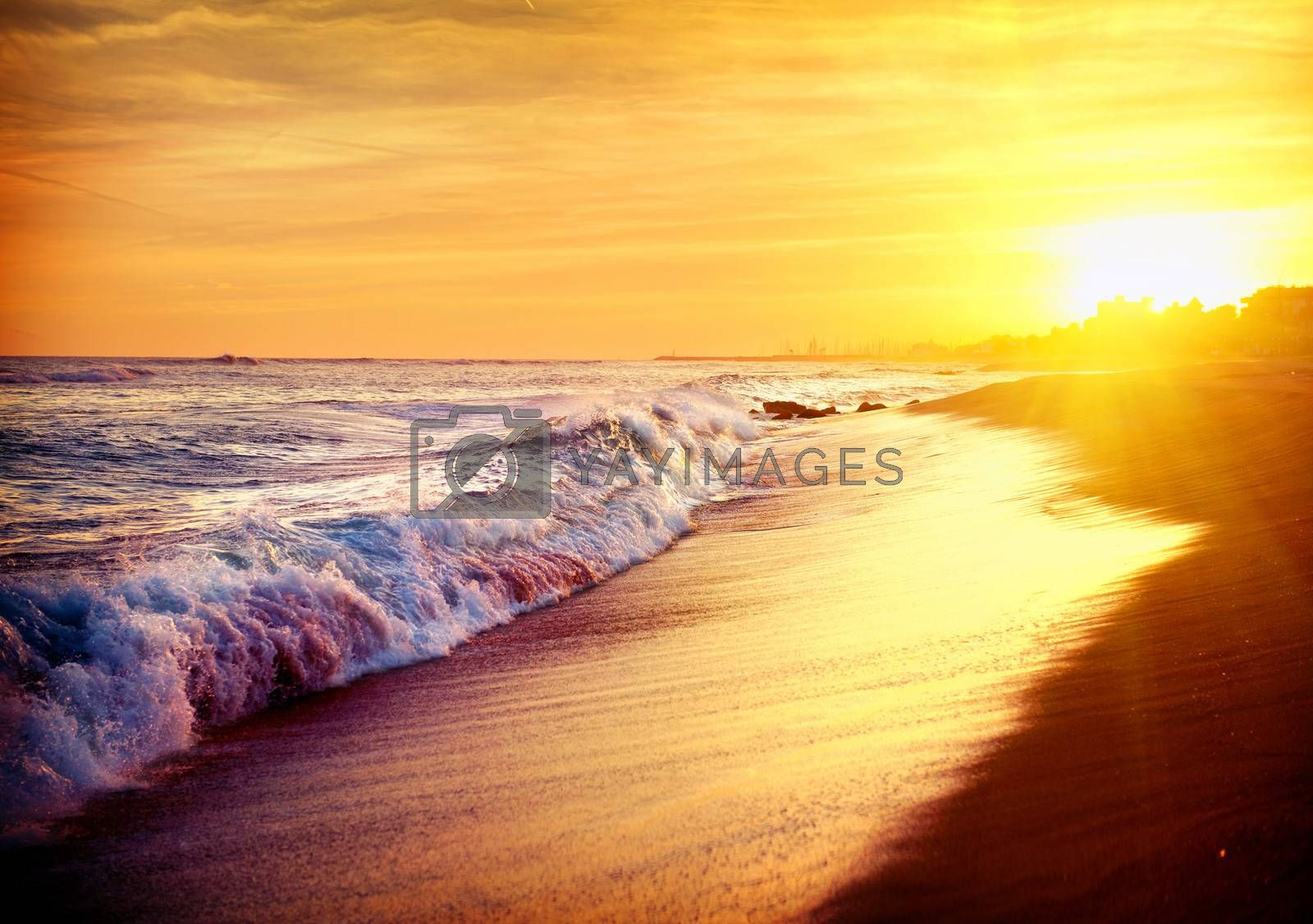 Beautiful Sea Sunset Beach. Mediterranean Sea. Spain by SubbotinaA