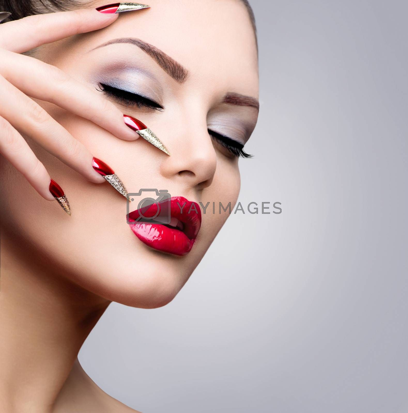 Fashion Beauty Model Girl. Manicure and Make-up by SubbotinaA