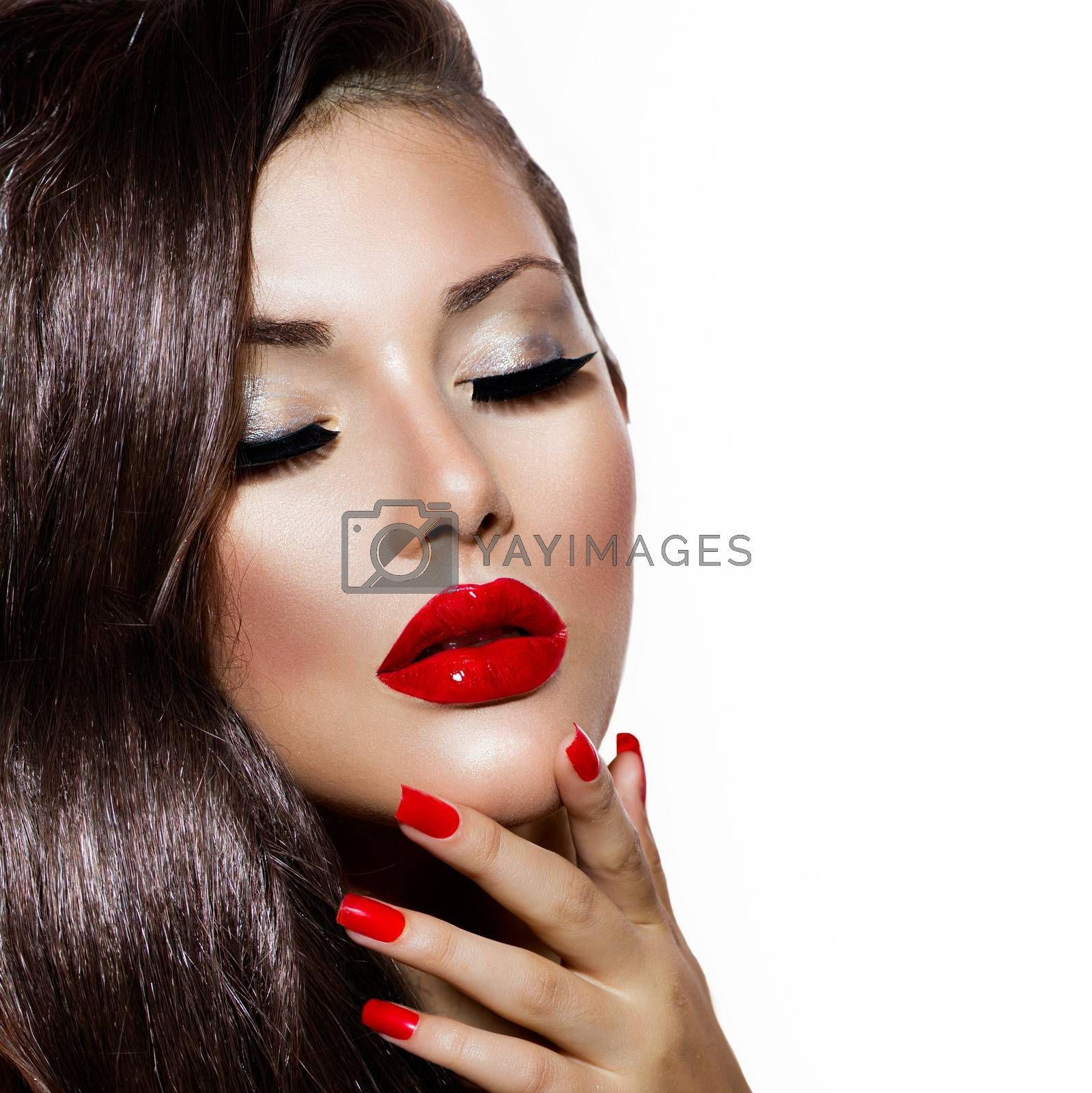 Sexy Beauty Girl with Red Lips and Nails. Provocative Makeup by SubbotinaA