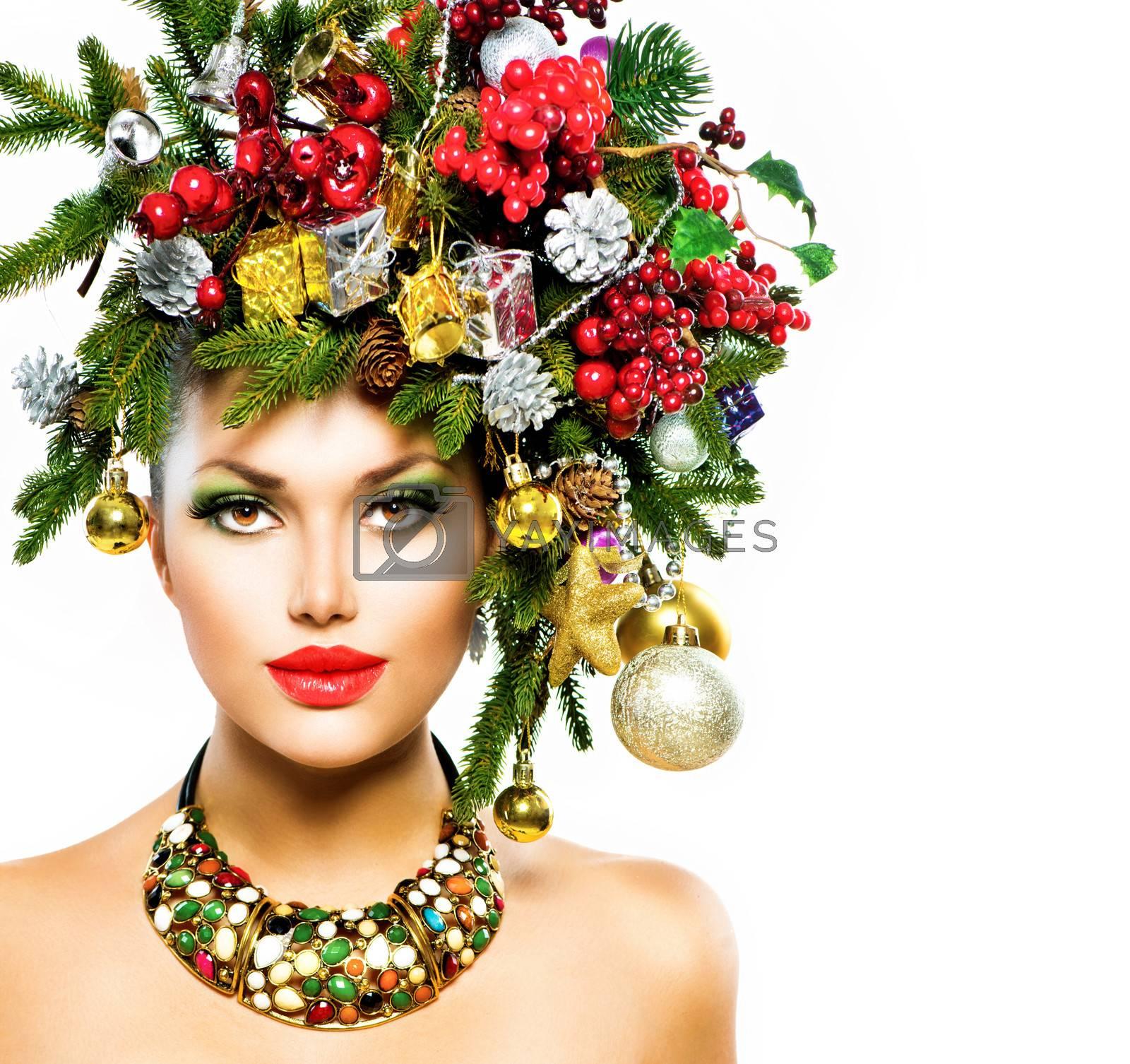 Christmas Woman. Christmas Holiday Hairstyle and Makeup by SubbotinaA