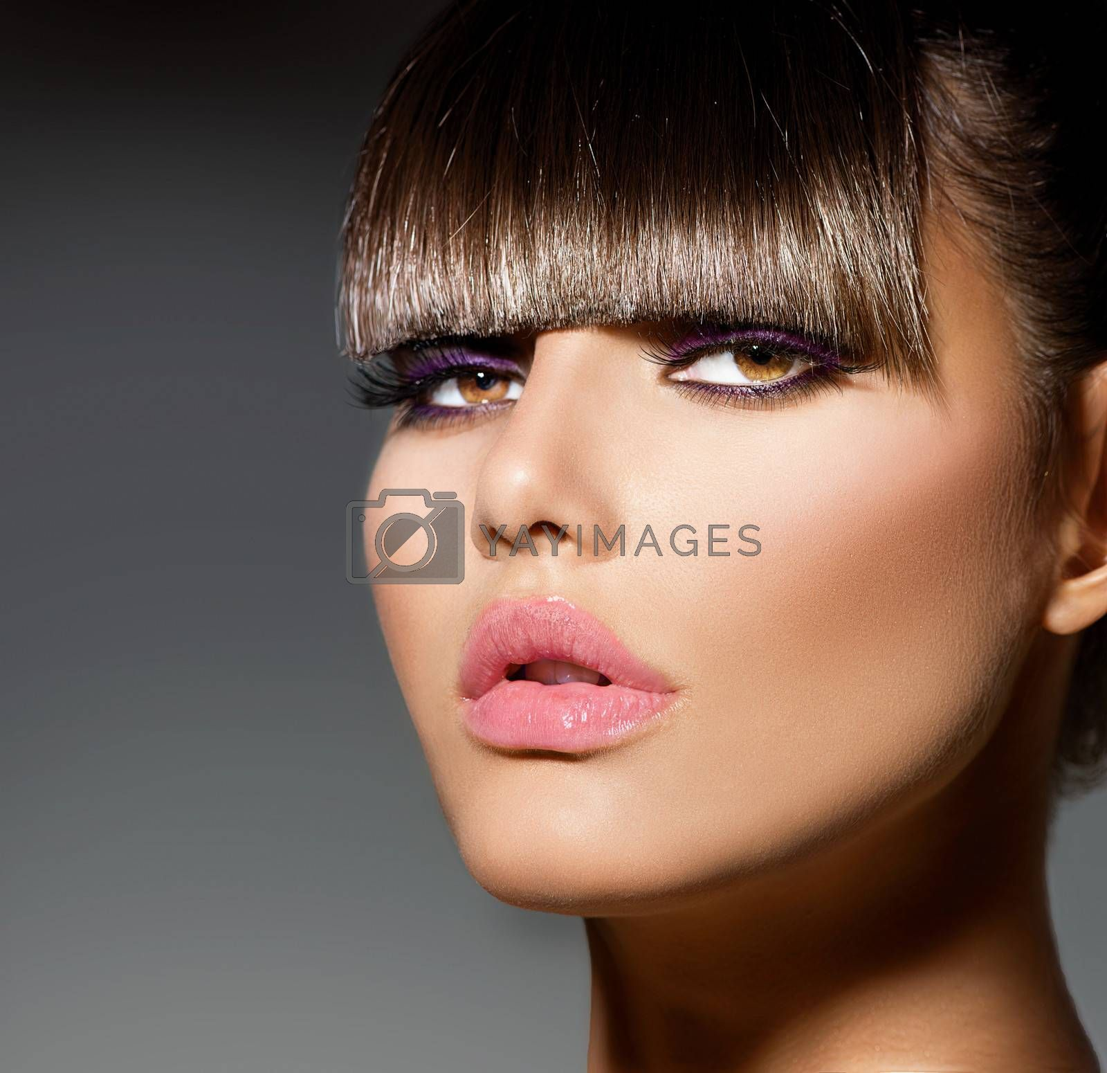 Fringe. Fashion Model Girl With Trendy Hairstyle and Makeup by SubbotinaA