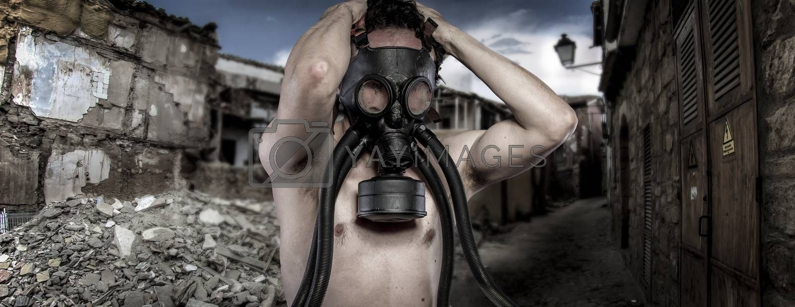 Toxic.Environmental disaster. Post apocalyptic survivor in gas mask