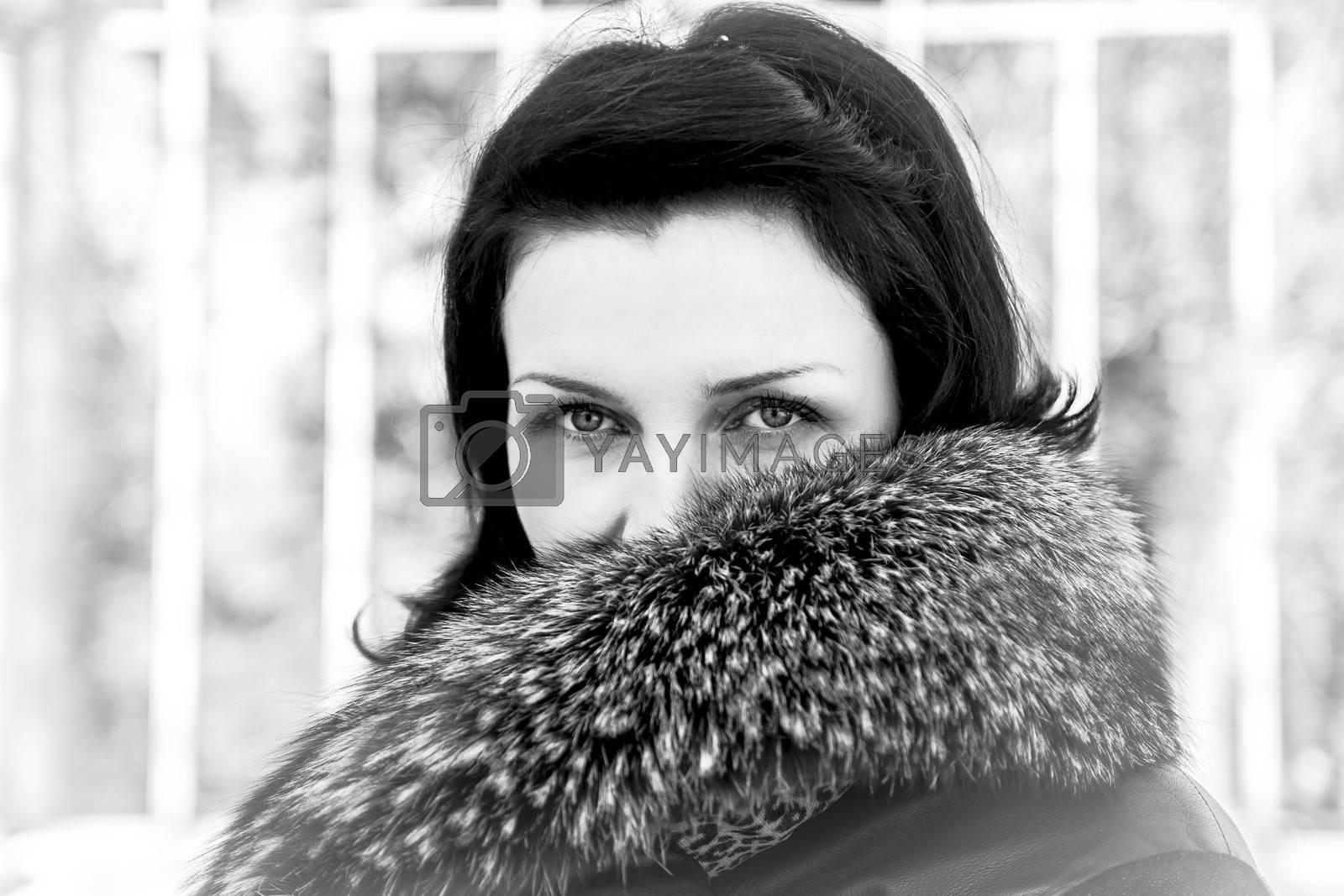 Fur.Beautiful woman in winter.Beauty Fashion Model Girl in a Fur Hat. Russian Stylish young.Portrait.