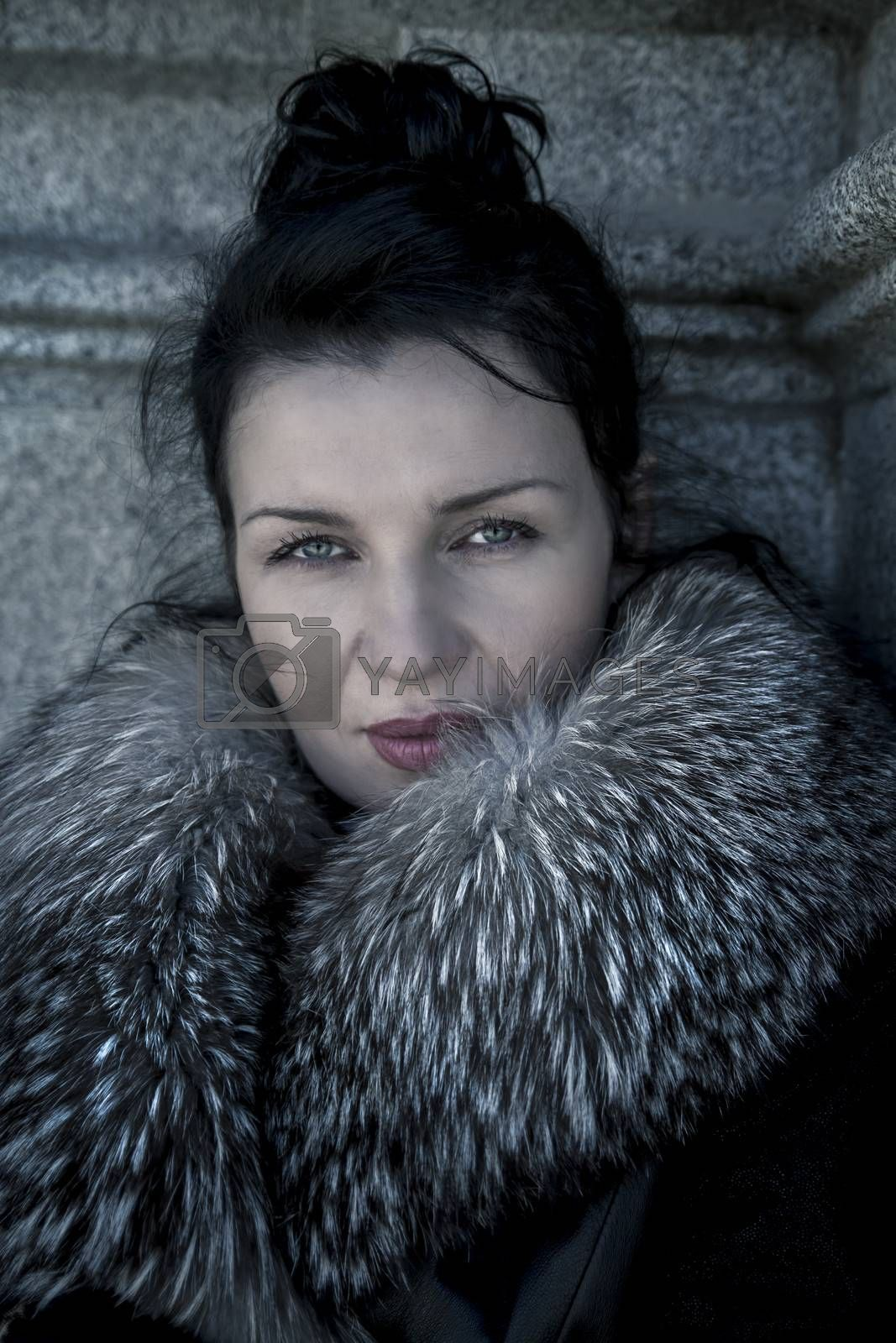 Elegant.Beautiful woman in winter.Beauty Fashion Model Girl in a Fur Hat. Russianl Stylish young.Portrait.