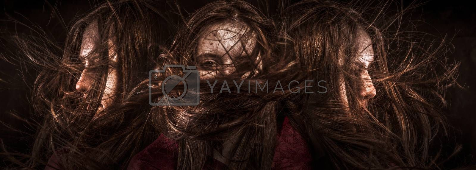 Photo of beautiful three girls with magnificent hair. Fashion photo