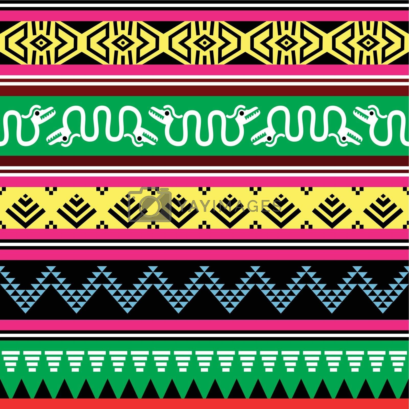 Vector seamless ethnic background in yellow, red, pink, green and black