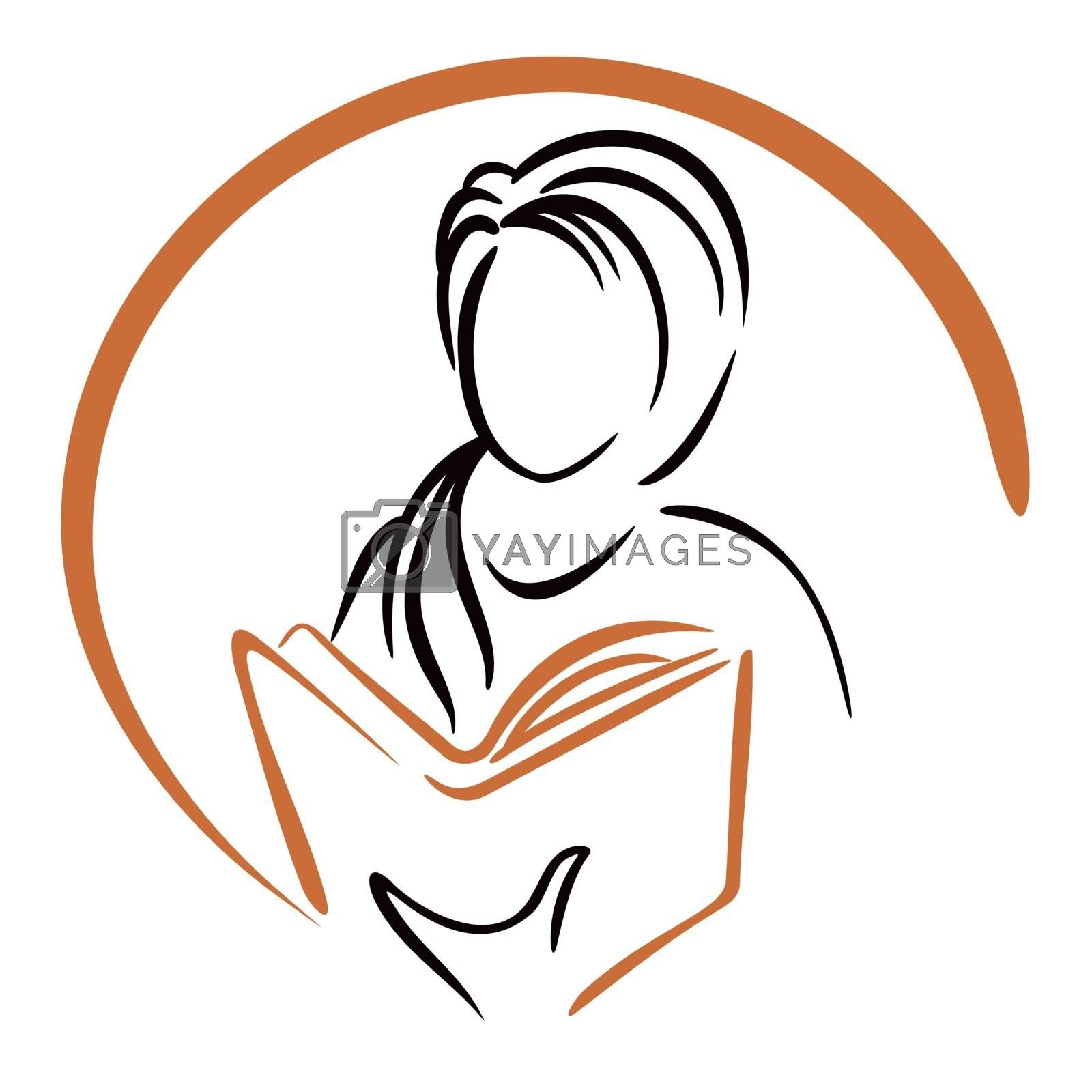 Symbol of women learning from book