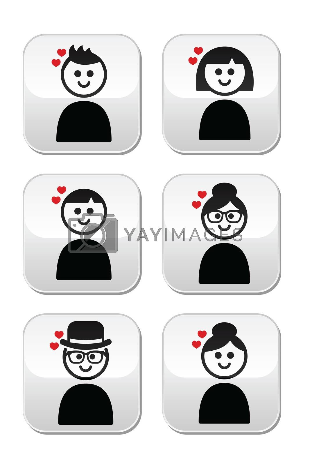 People in different ages with hearts buttons set isolated on white