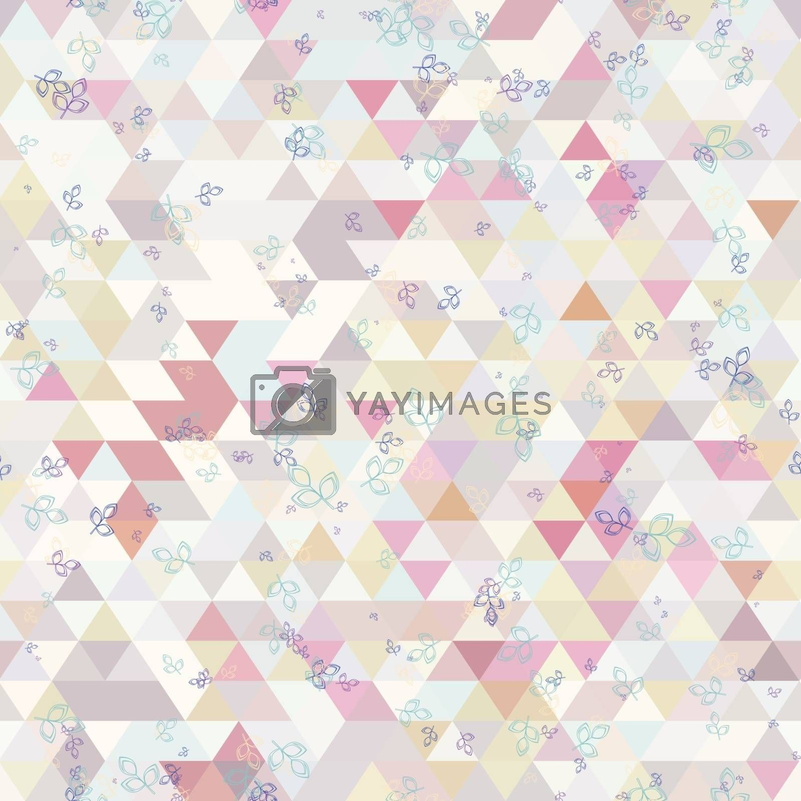 Triangles and small twig with leaf. colorful seamless background