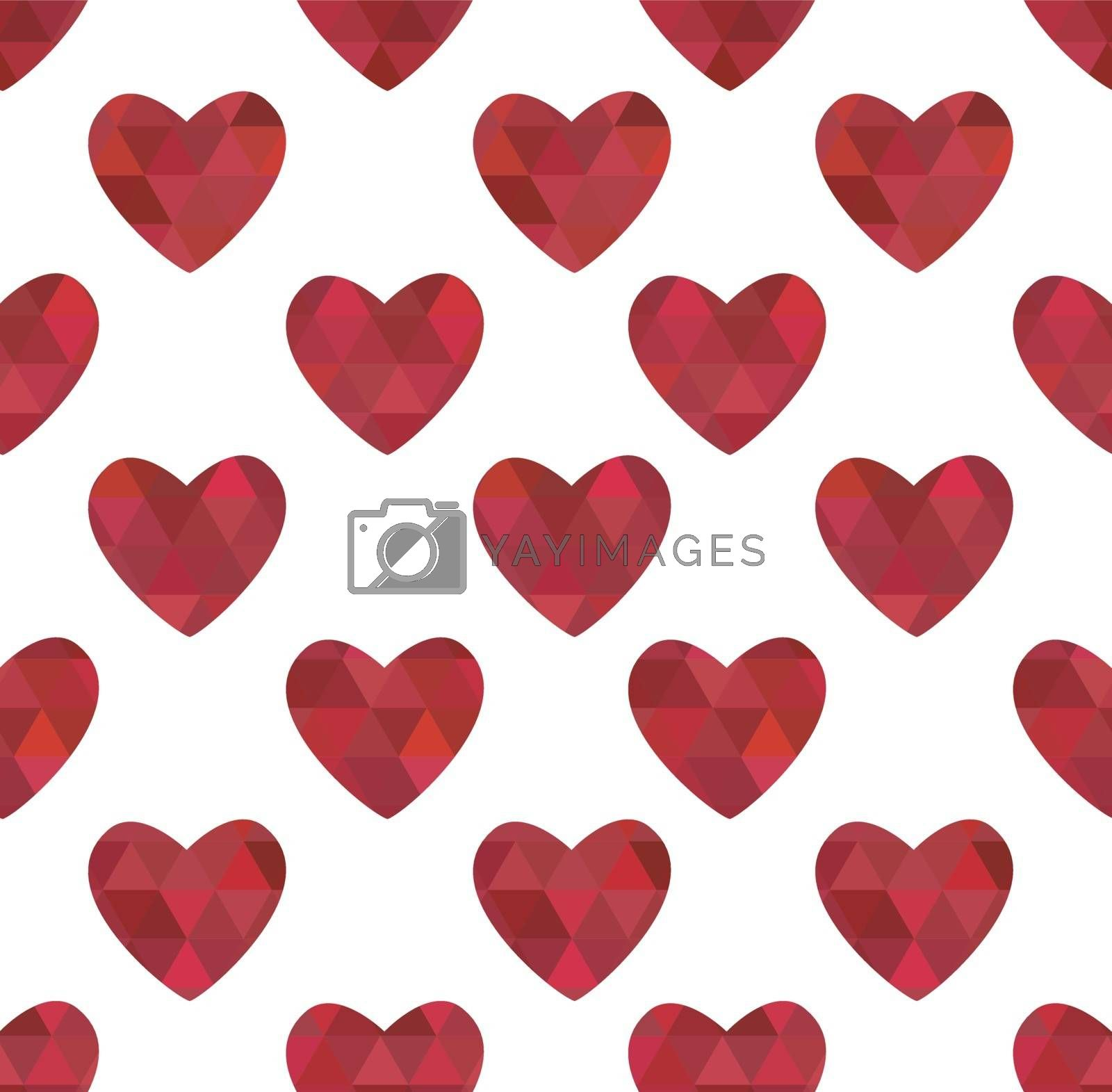 Seamless texture of red hearts in the crystalline style