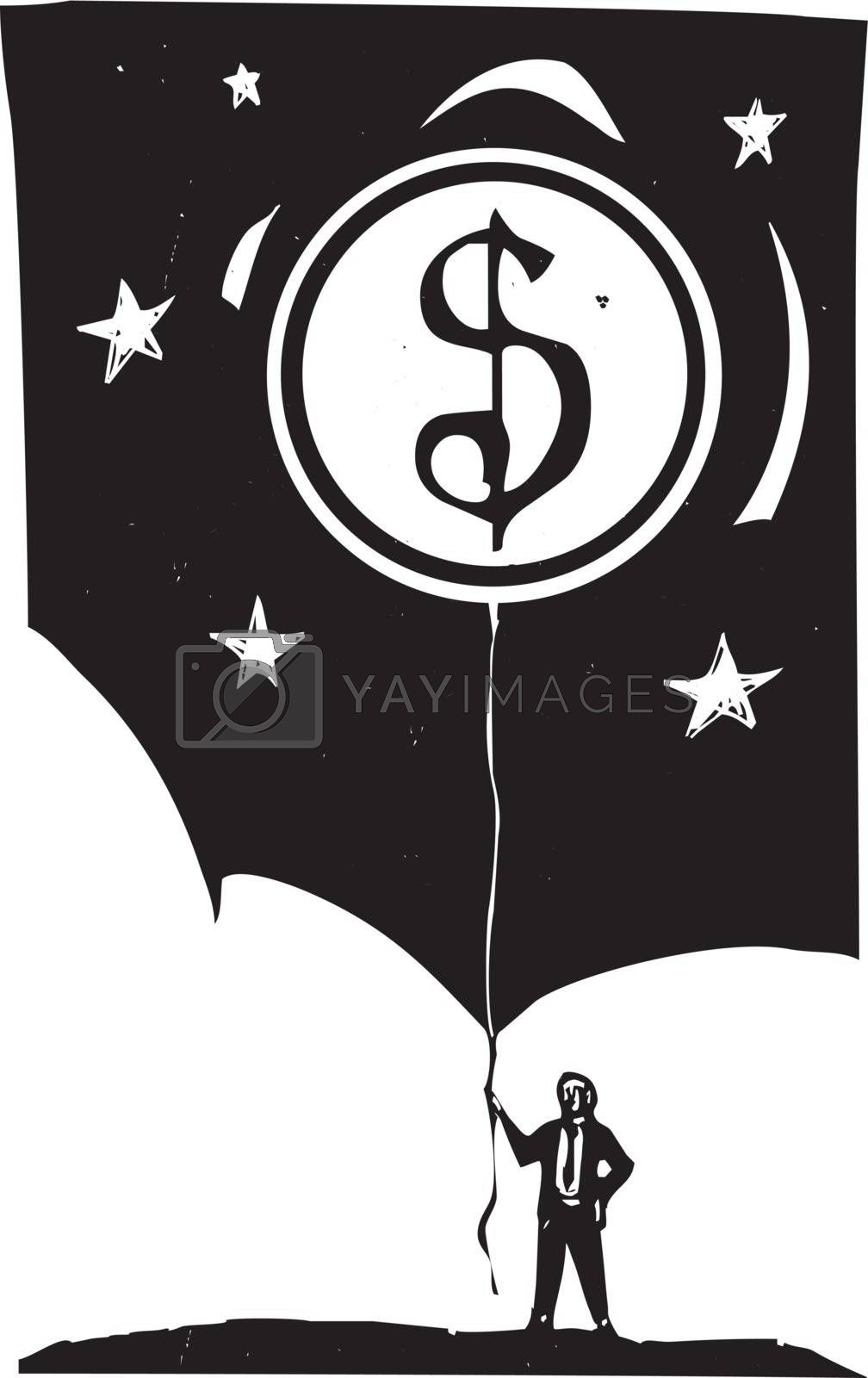 Woodcut style image of a man in a business suit holding a coin shaped balloon.
