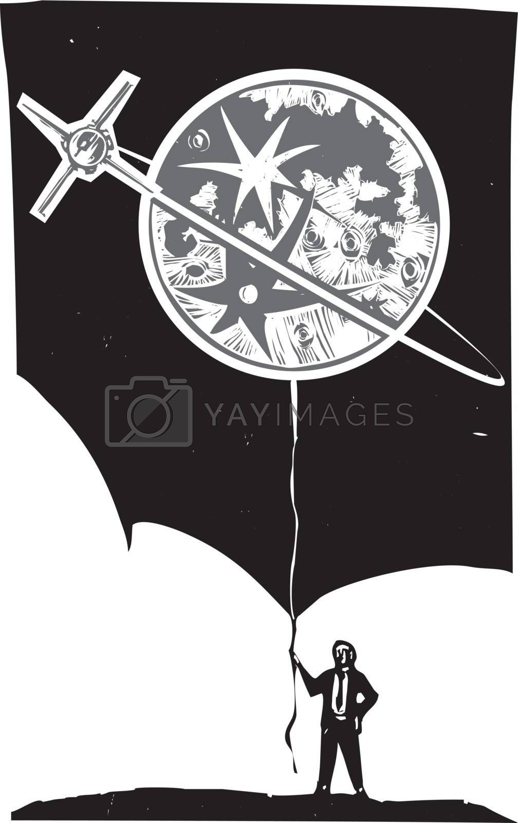 Woodcut style image of a man in a business suit holding a moon shaped balloon with an orbiting satellite