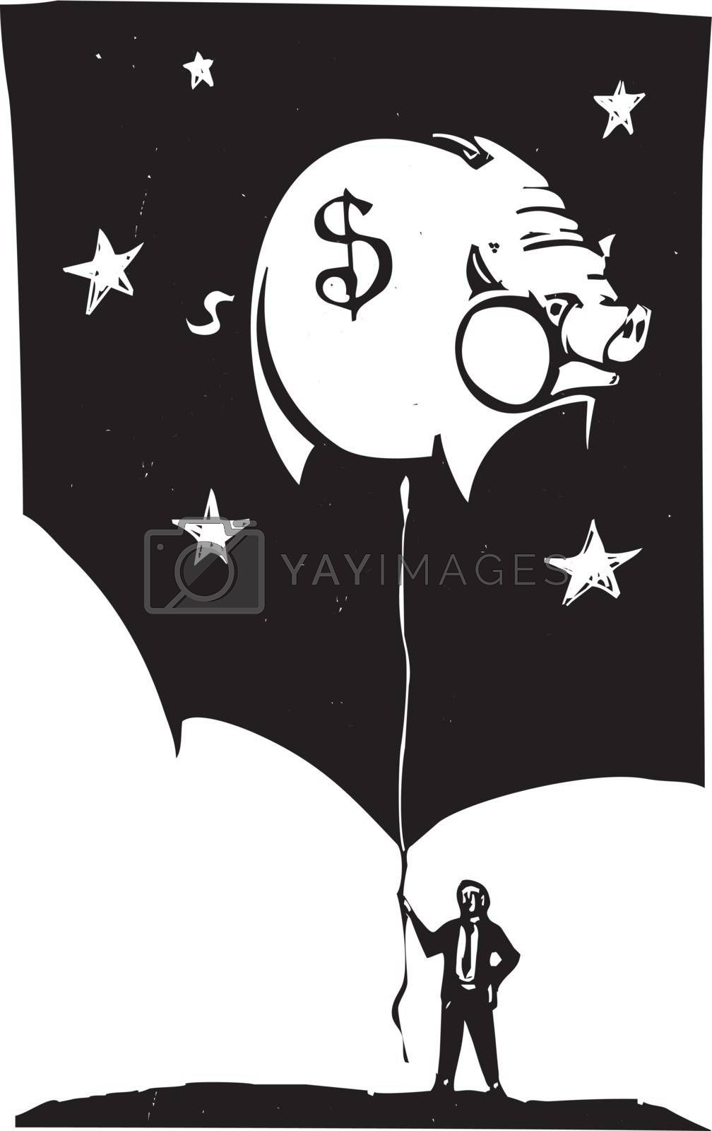 Woodcut style image of a man in a business suit holding a piggy bank shaped balloon