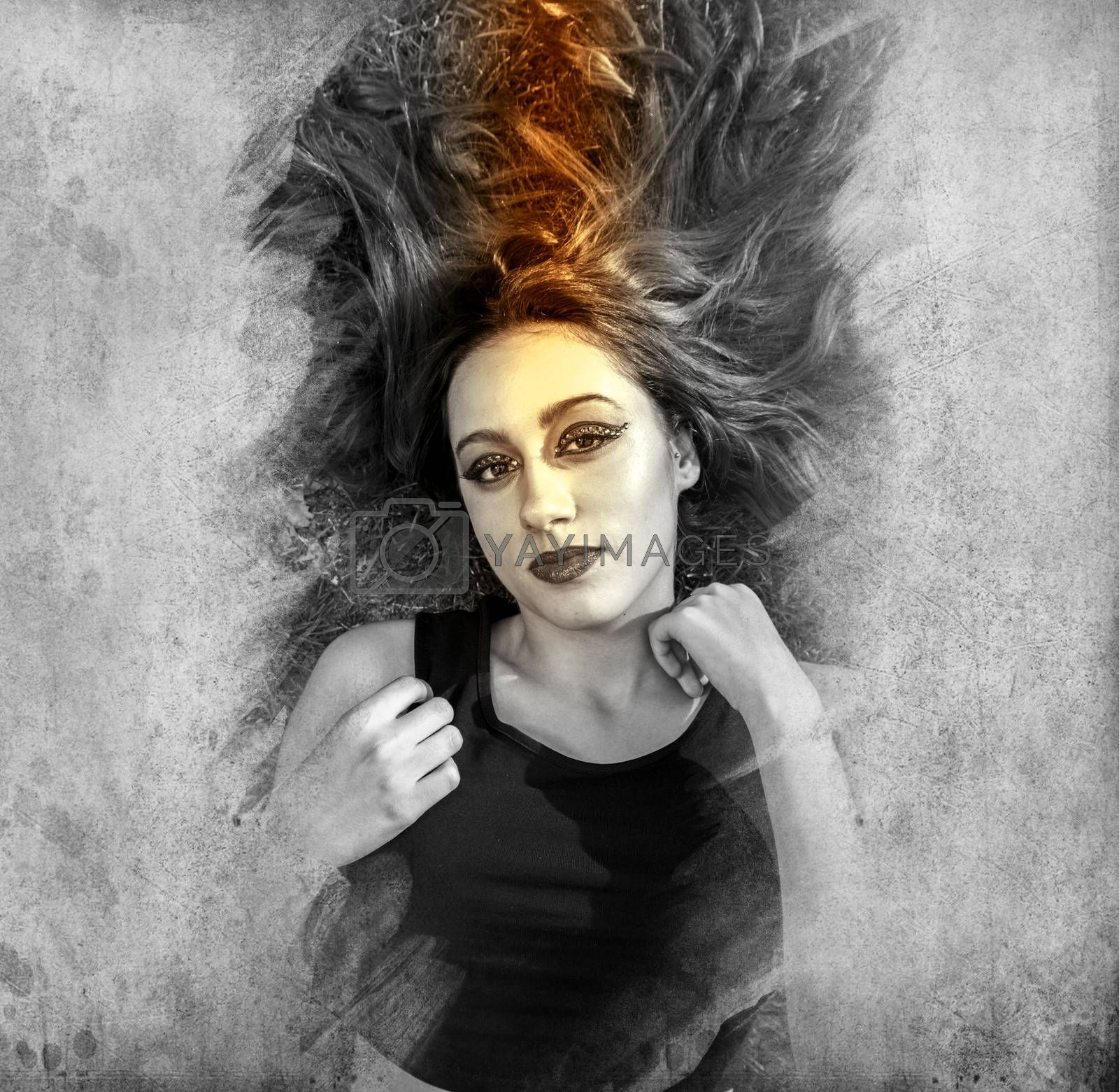 sensual female model. brunette girl artistic style