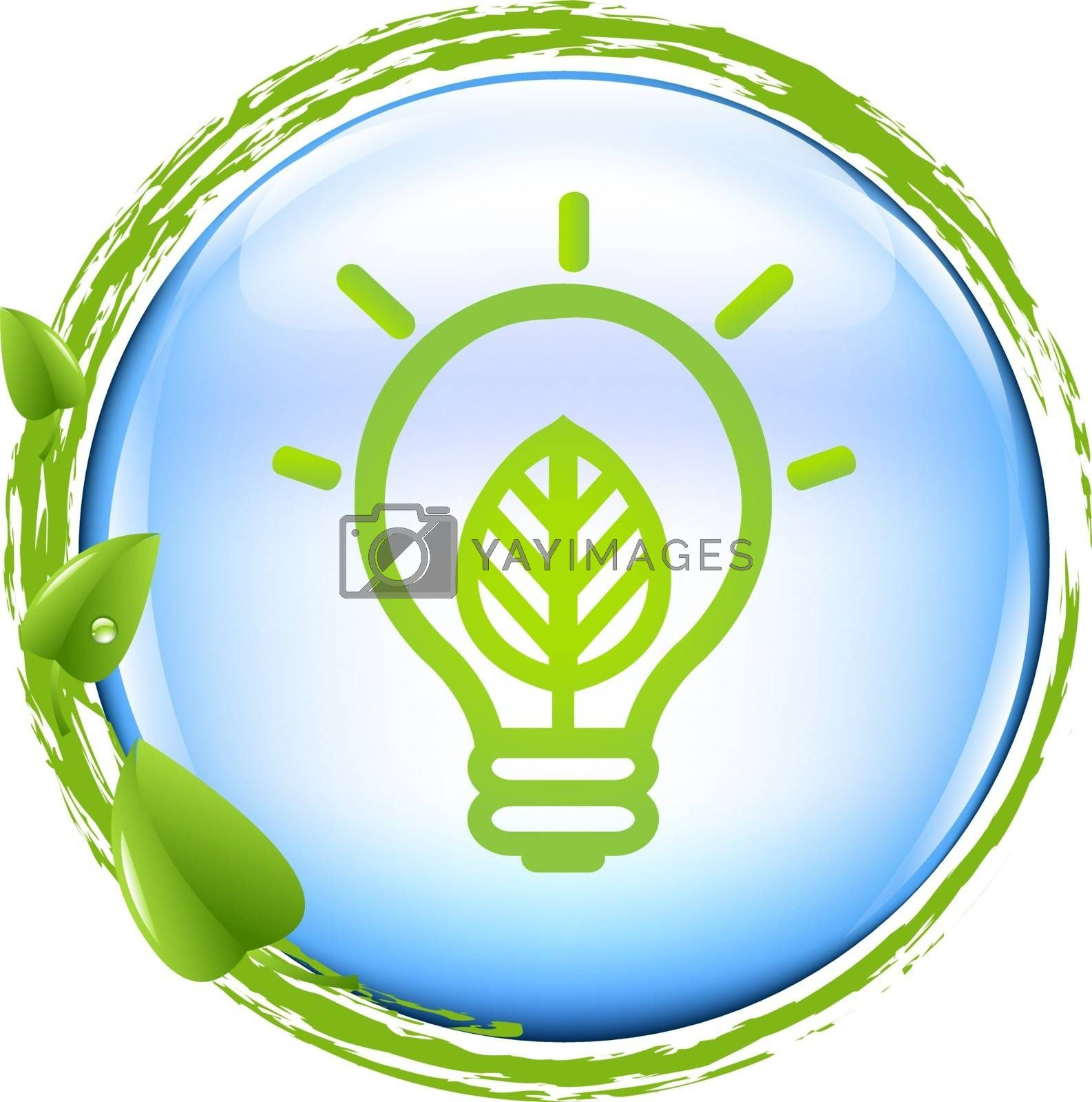 Blue Ball And Green Eco Lamp, With Gradient Mesh, Vector Illustration