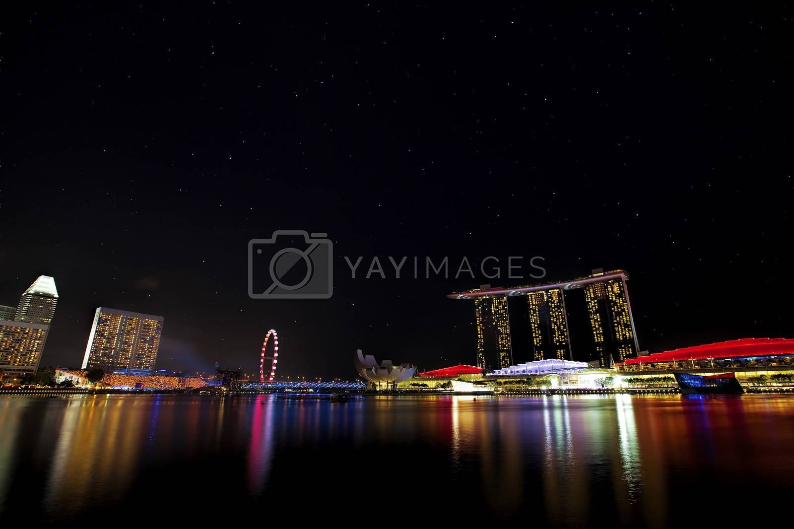 View of Singapore city skyline at night with starry sky