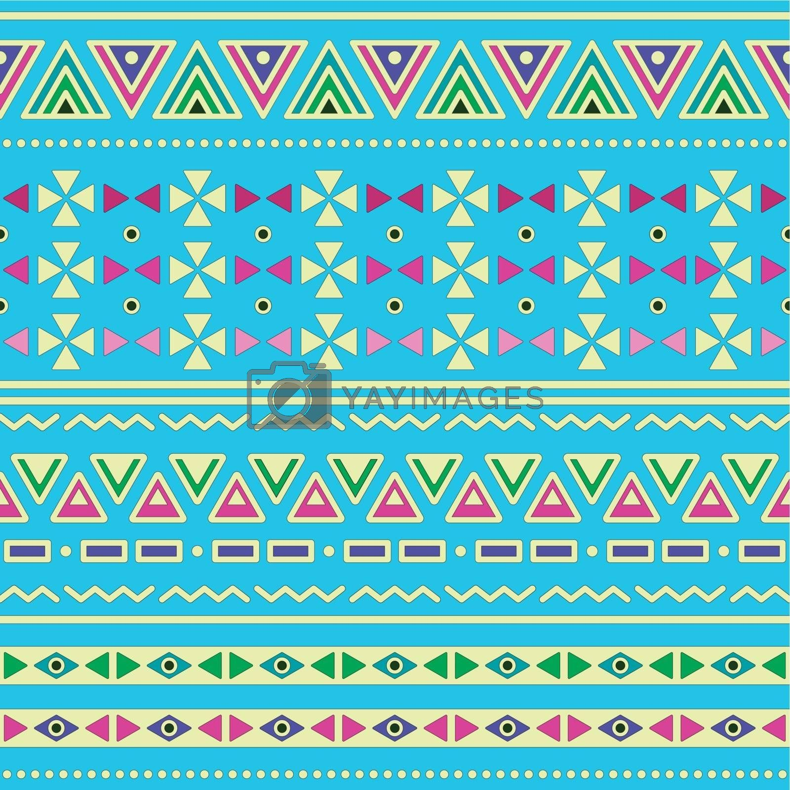 Vector seamless aztec ornament, ethnic colorful pattern