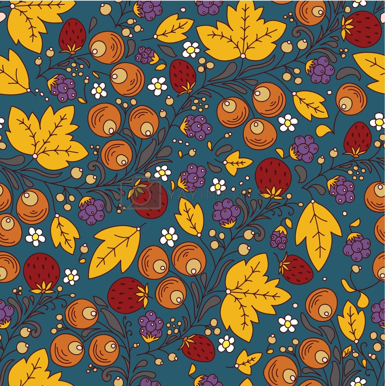 seamless texture with strawberry, berry, leaf on a dark backgroundrry, berry, leaf on a light background. Use as a pattern fill, backdrop