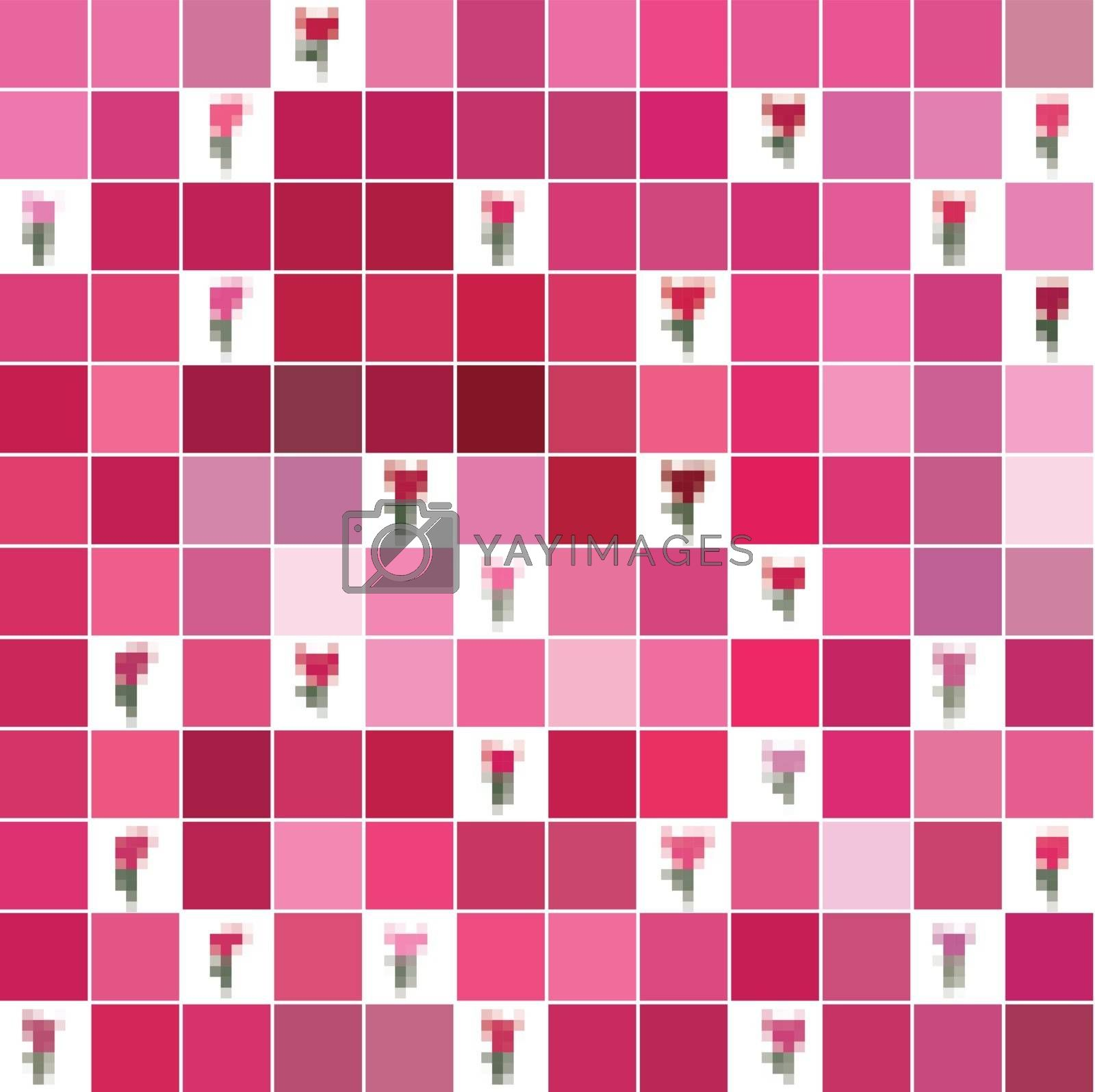 seamless pink texture pixel tulips. Use as a pattern fill, backdrop, seamless texture