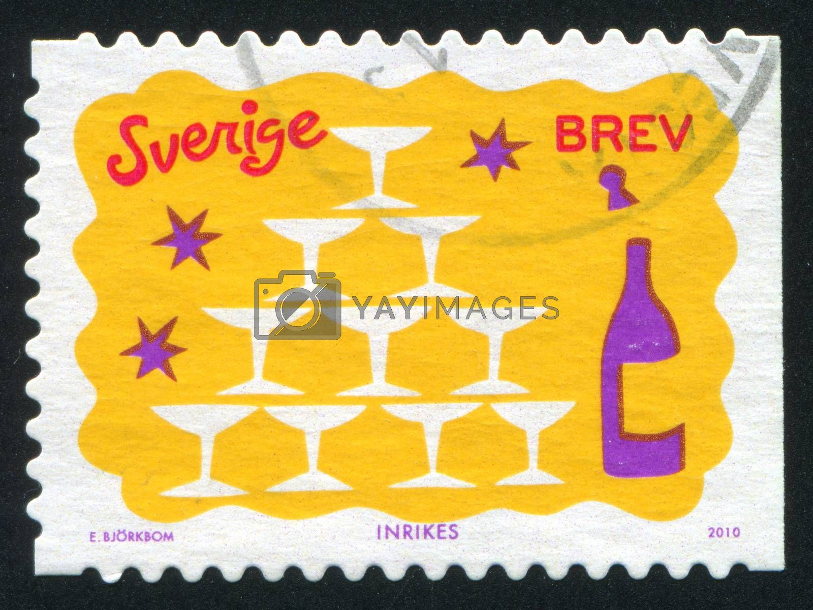 SWEDEN - CIRCA 2010: stamp printed by Sweden, shows Glasses and Bottle, circa 2010