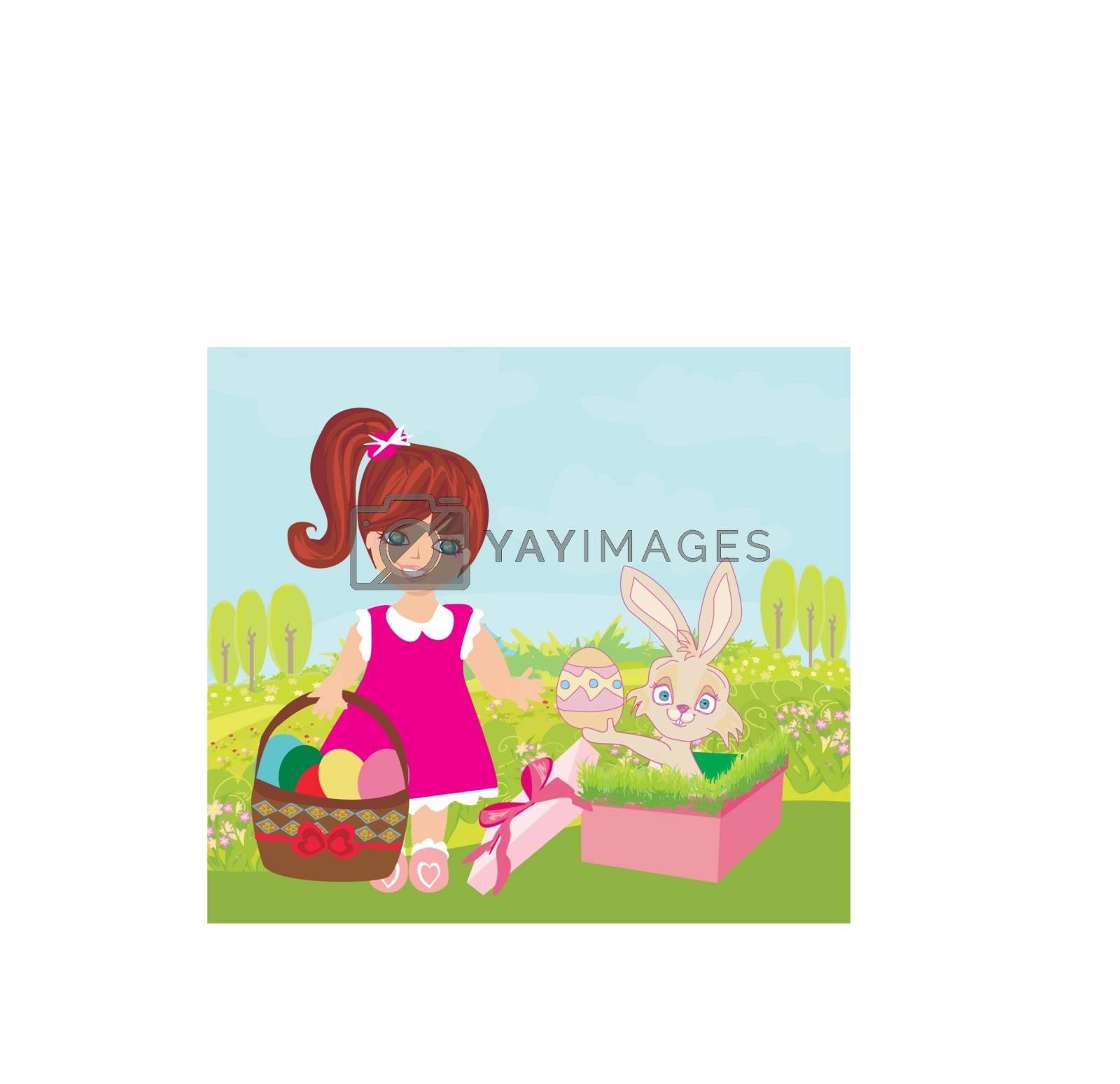 sweet girl and  Easter Bunny