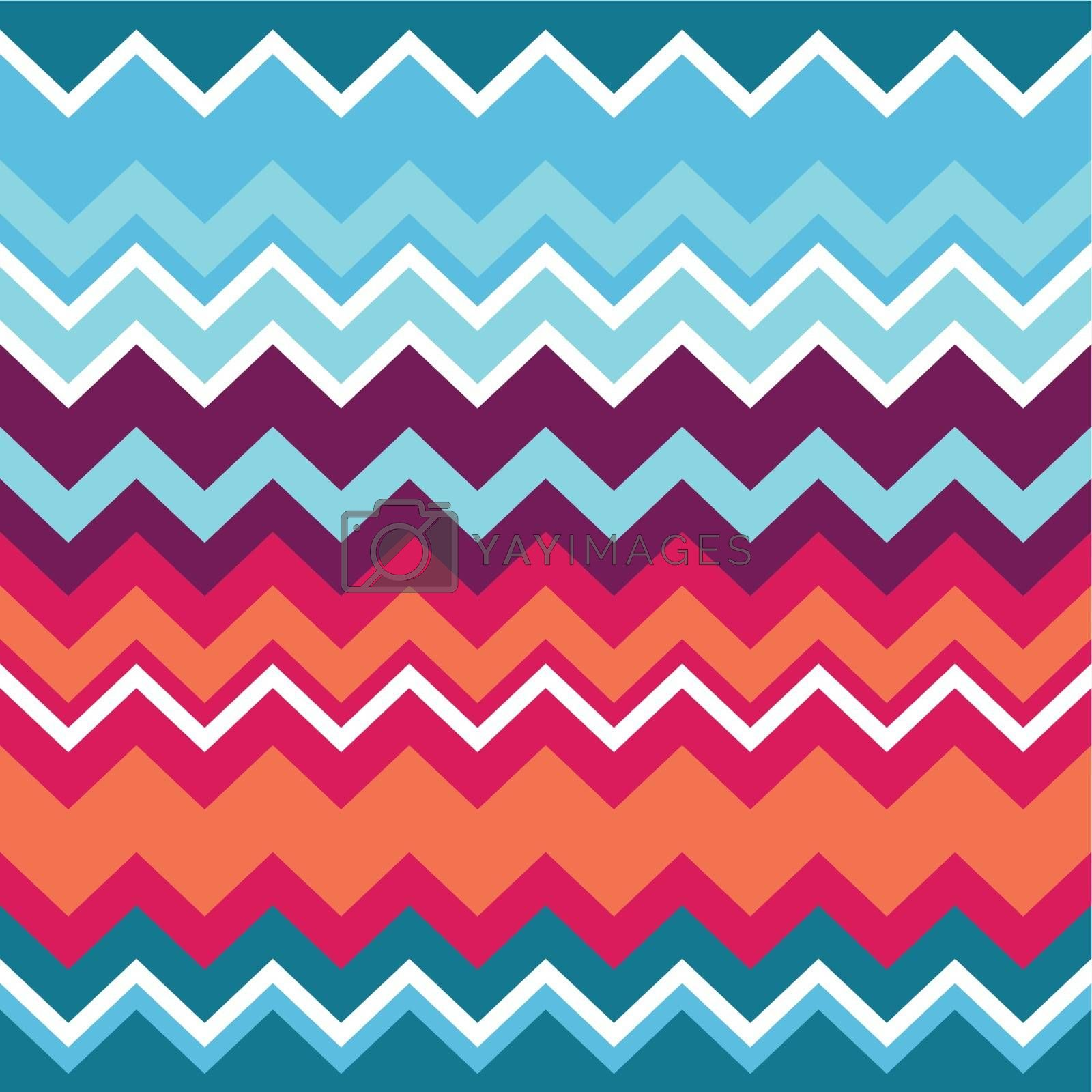 Vector seamless aztec ornament, ethnic pattern in blue, red and orange